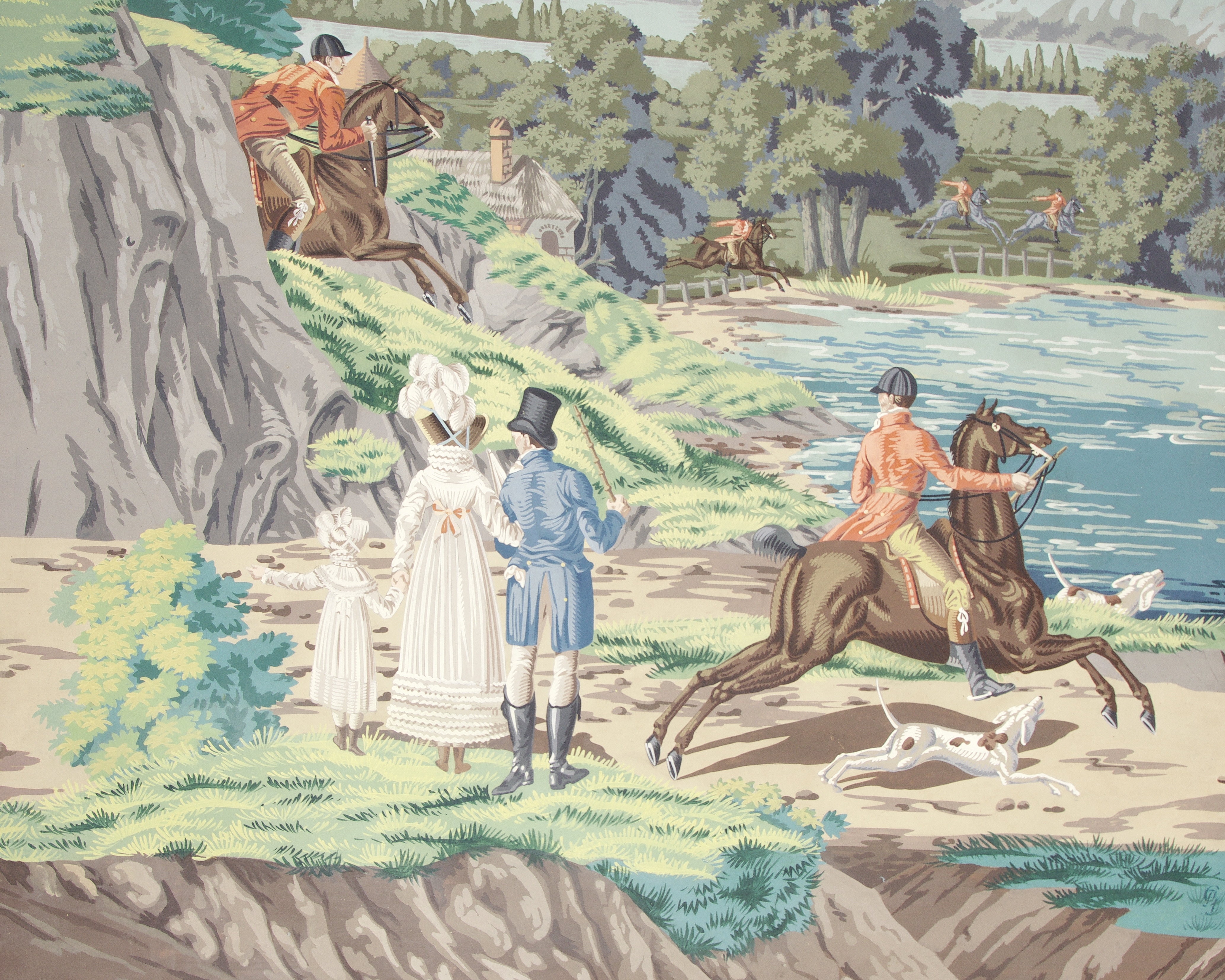 Lot 39 - A set of twelve unusual hand painted 'Les Chasses de Compiegne' panoramic wallpaper panels proba...