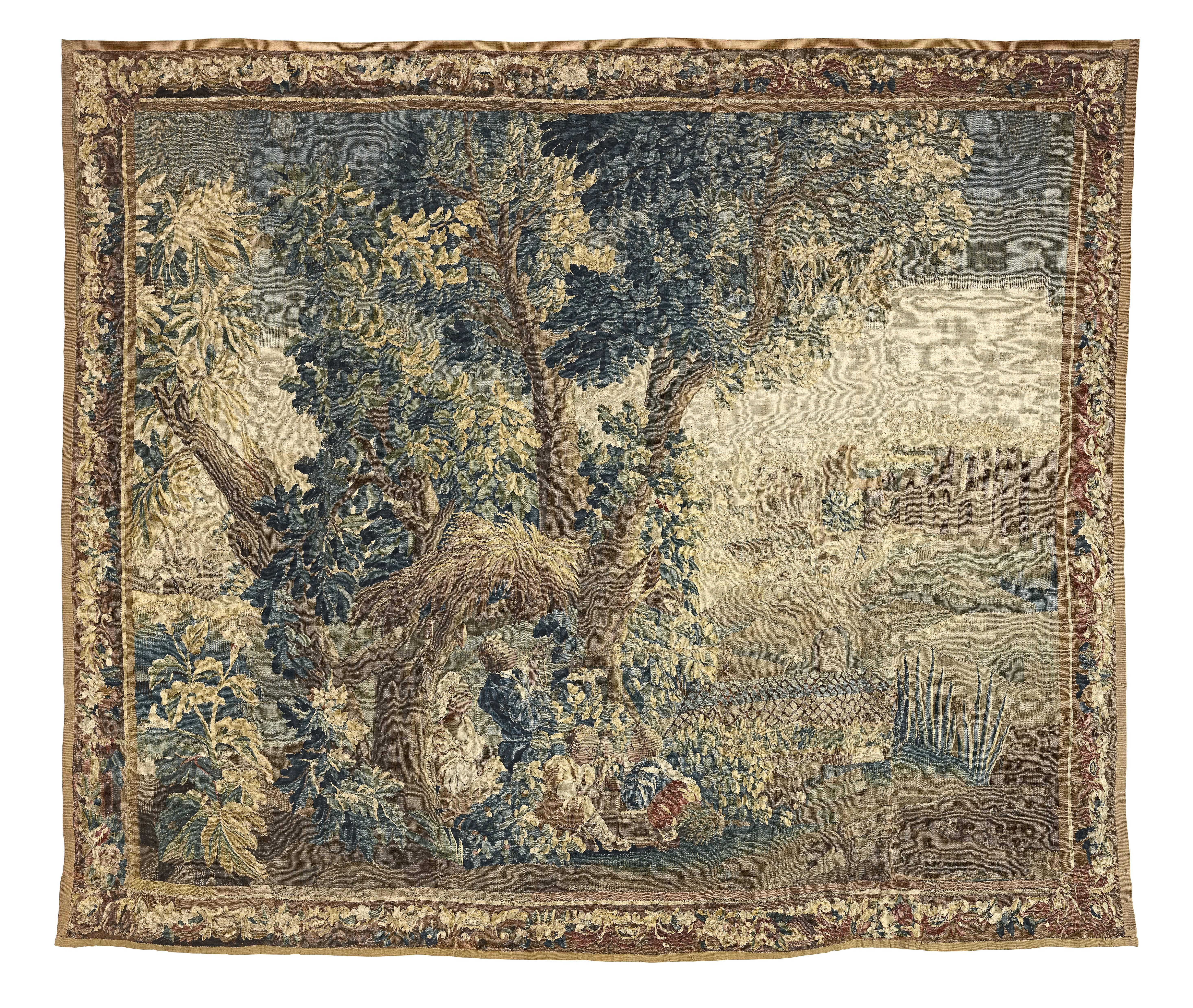 Lot 28 - A charming Flemish Verdure Tapestry mid to late 18th century 282cm x 250cm