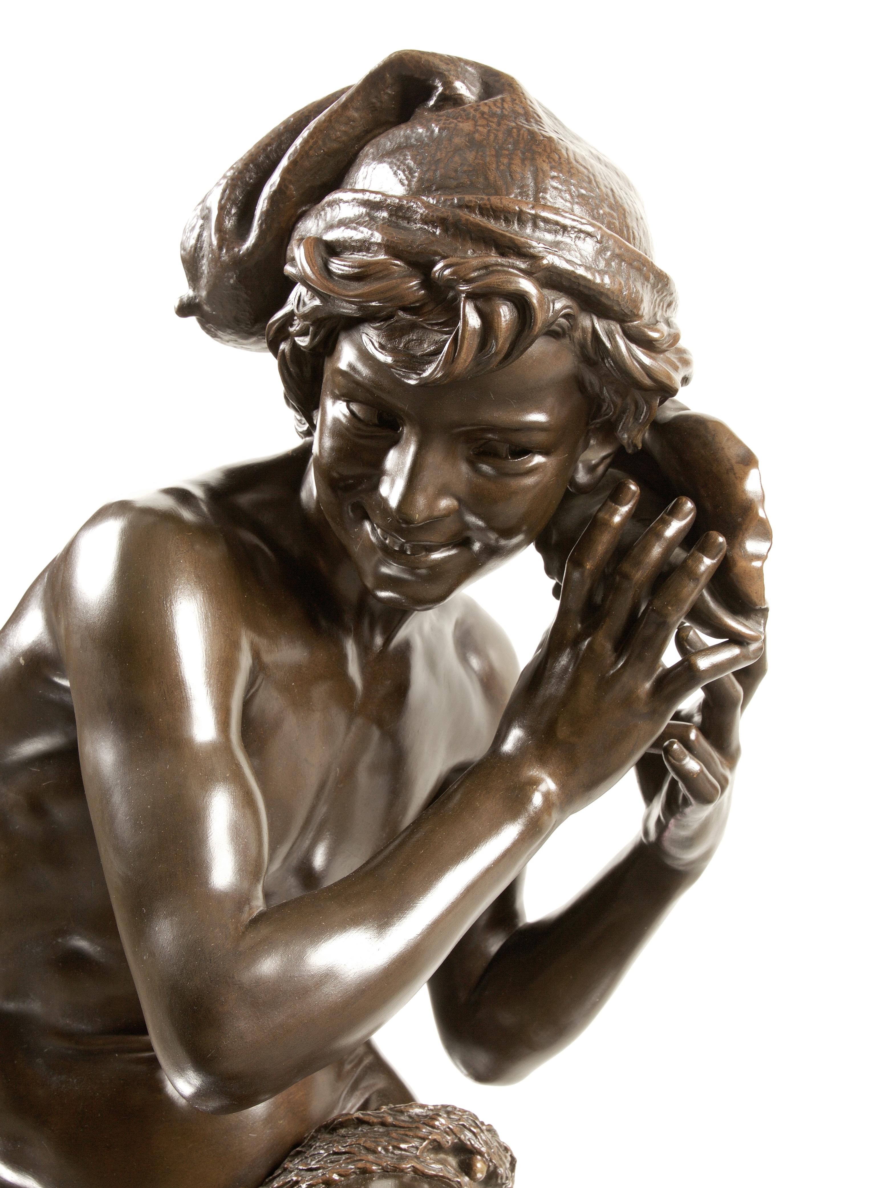 Lot 59 - Jean Baptiste Carpeaux (French 1827 -1875): A bronze figure of Le Jeune pêcheur à la coauille (Ne...