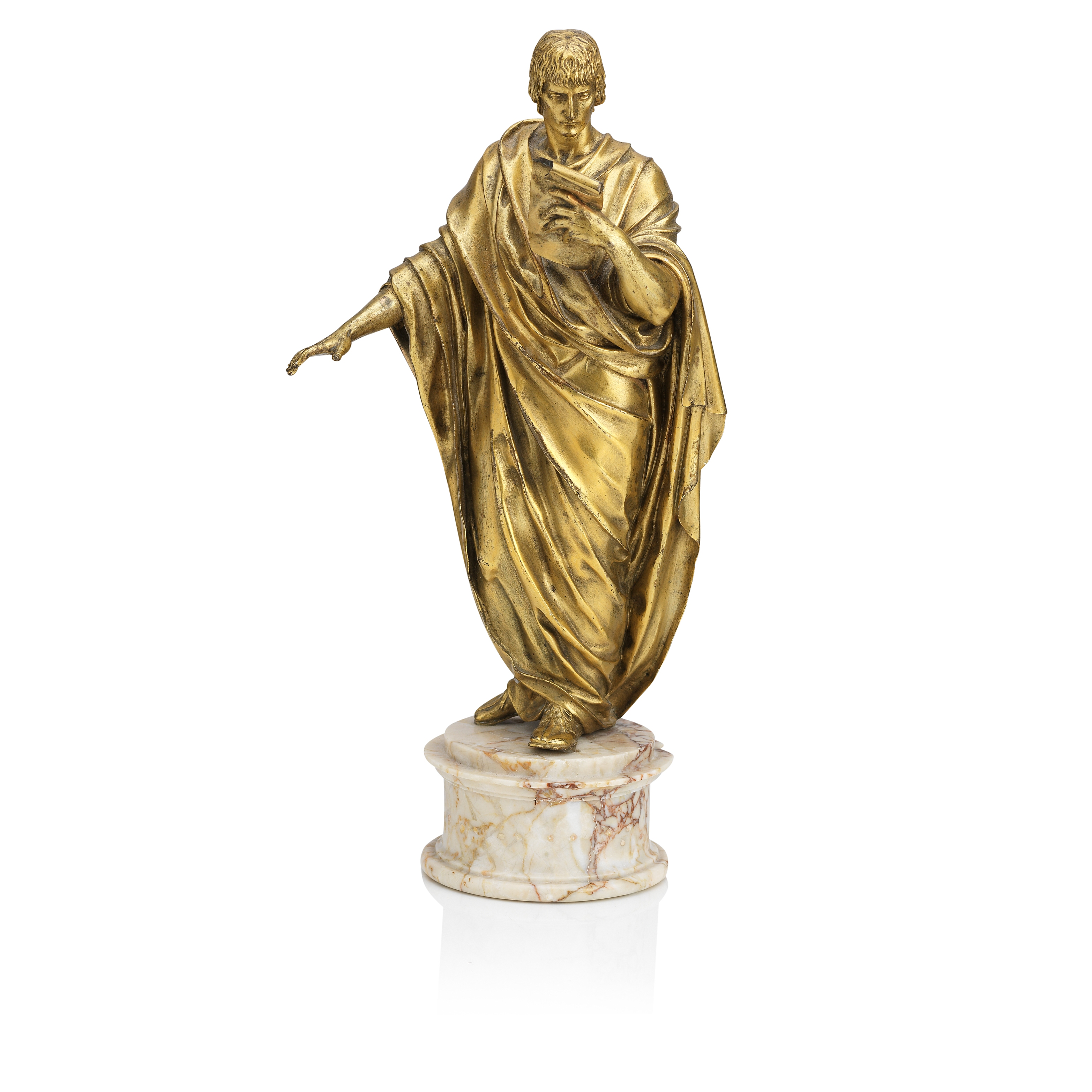 Lot 15 - Angelo Pizzi (Italian, 1775-1819): A gilt bronze figure of a Roman orator