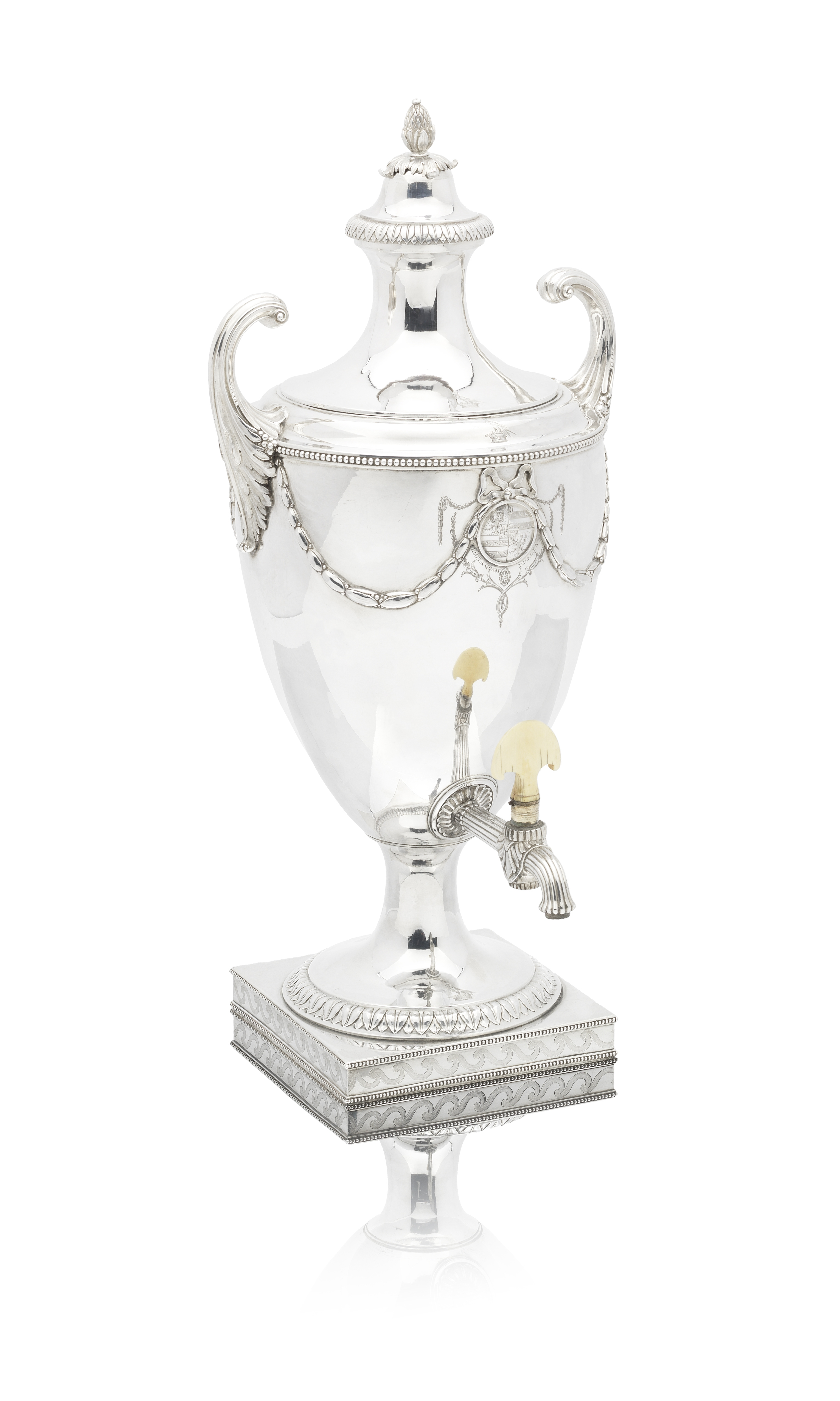 Lot 54 - A George III silver tea urn in mahogany travelling case John Wakelin and William Taylor, London 1778
