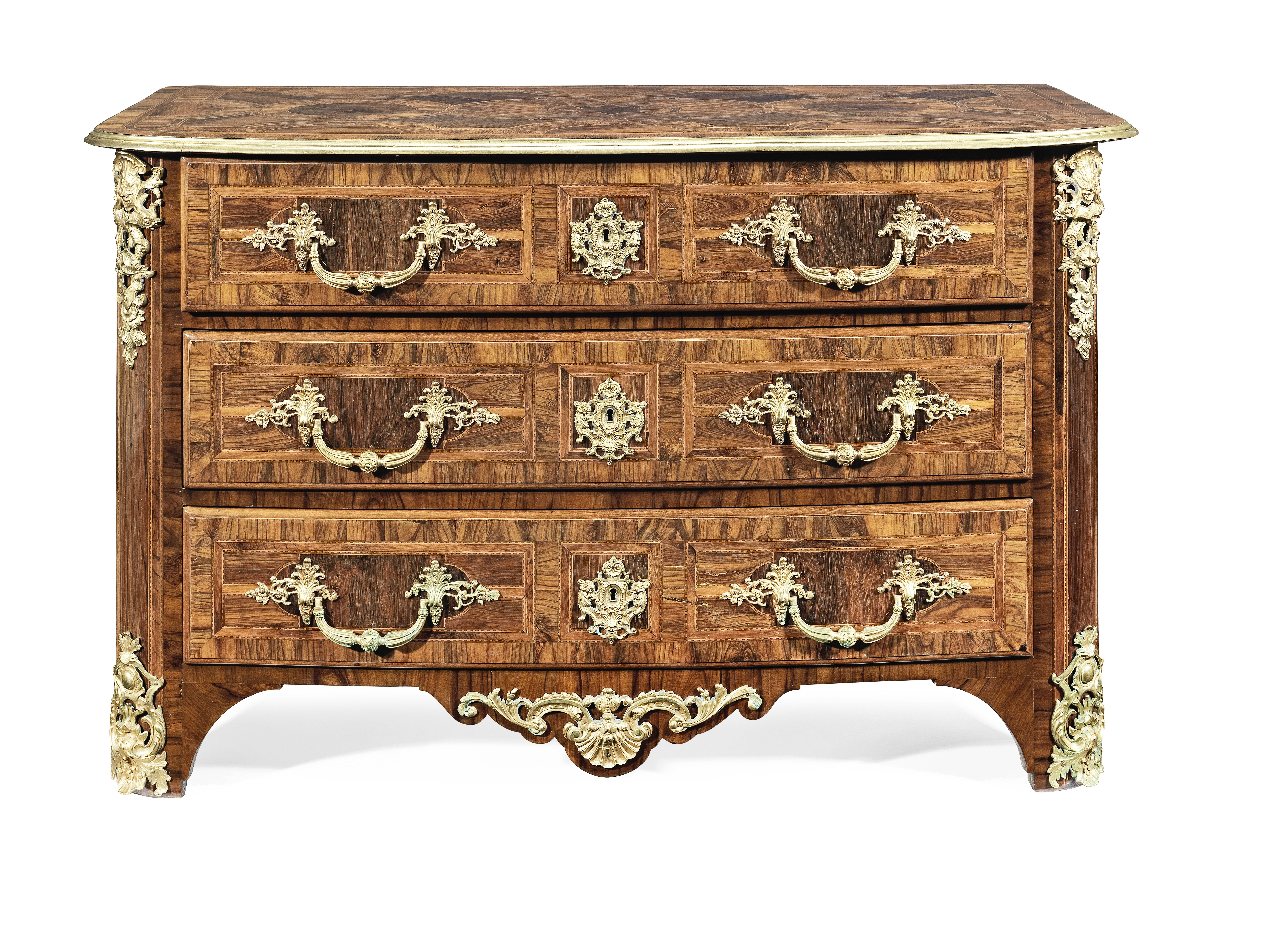 Lot 49 - A Regence ormolu mounted olivewood, rosewood, burr elm, walnut and chequer inlaid commode attribu...
