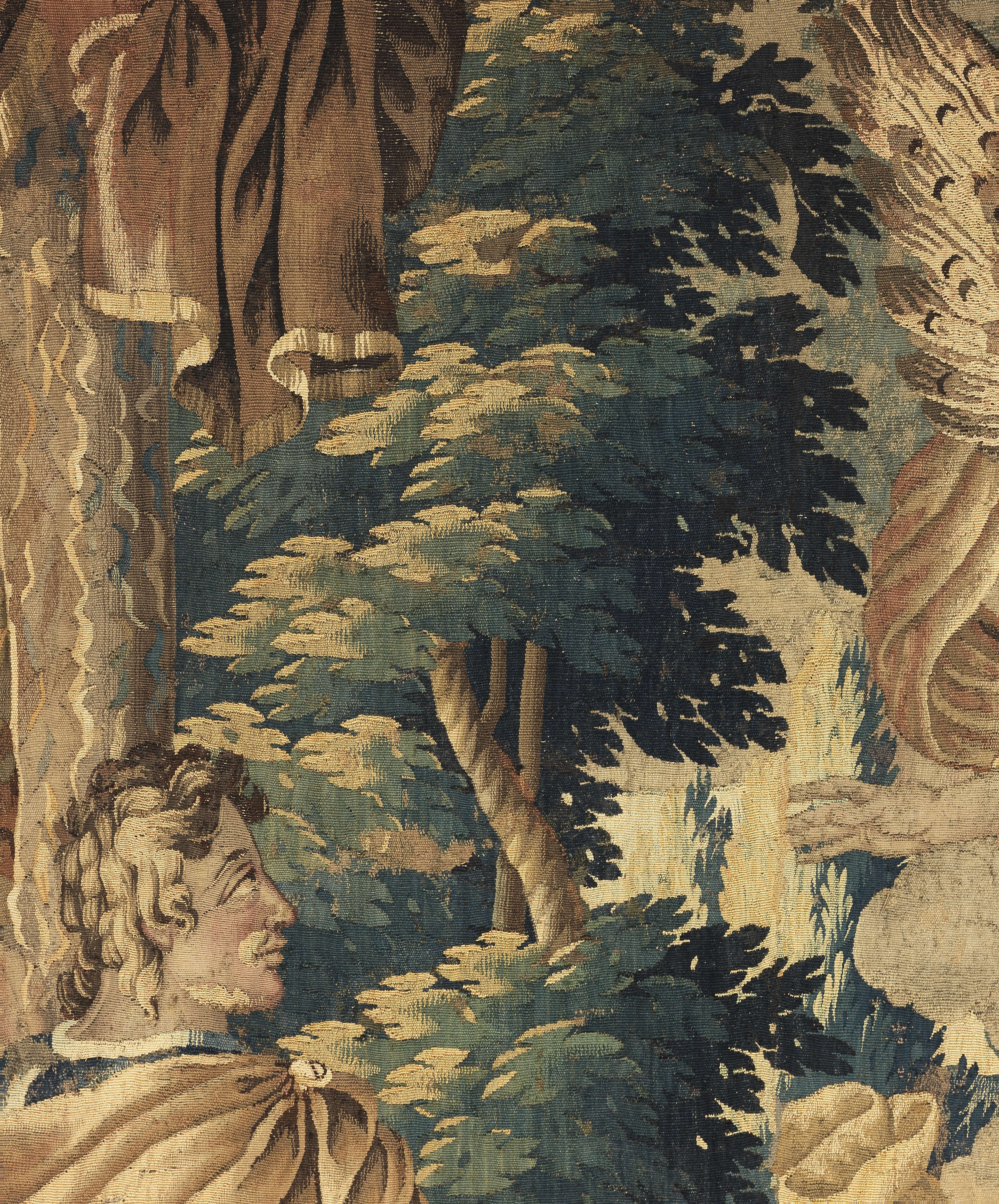 Lot 13 - A striking Flemish Tapestry fragment possibly depicting the story of St Cornelius early to mid 18...