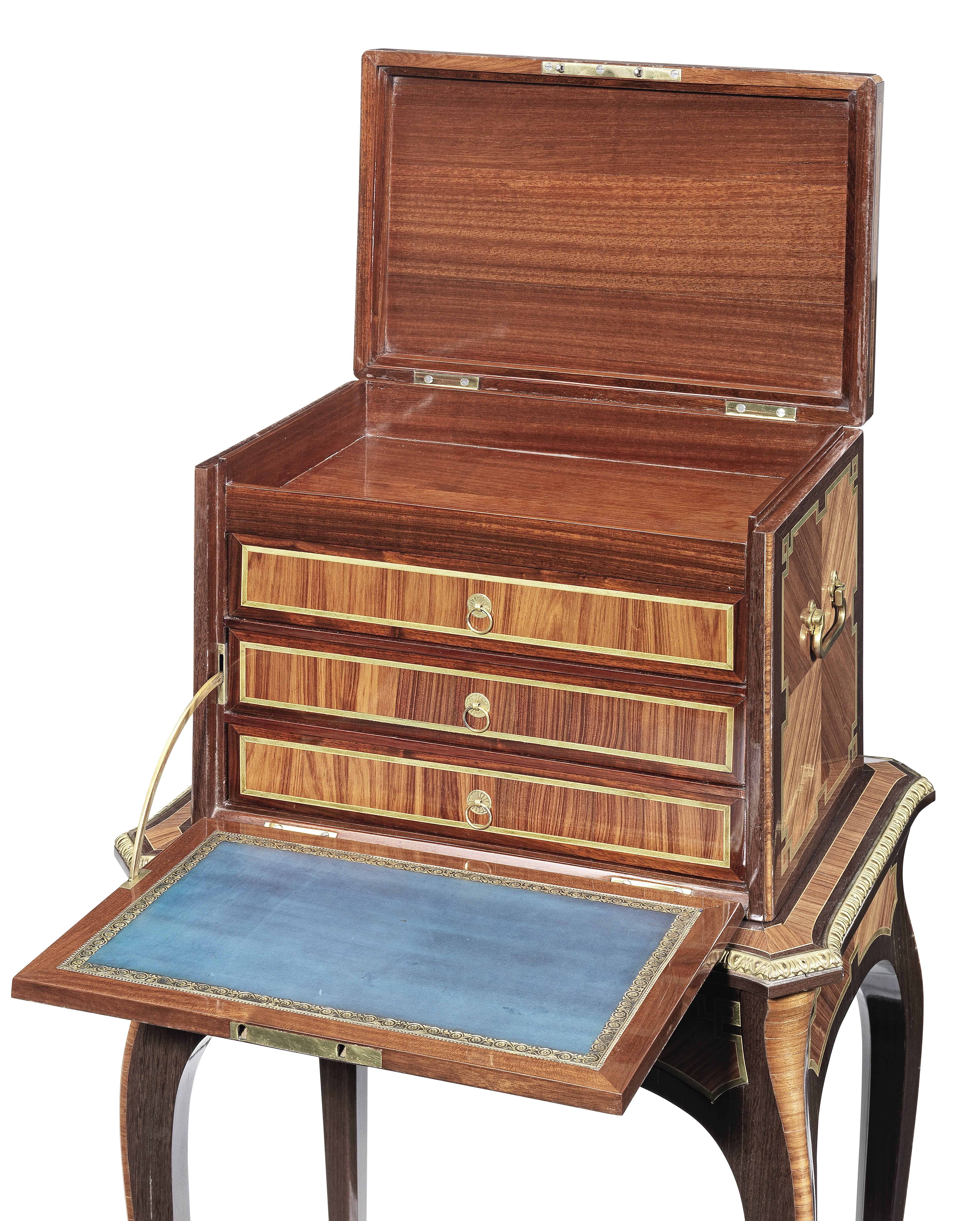 Lot 36 - A late Louis XV ormolu mounted tulipwood, amaranth and stained sycamore coffre a bijoux by Pierre...