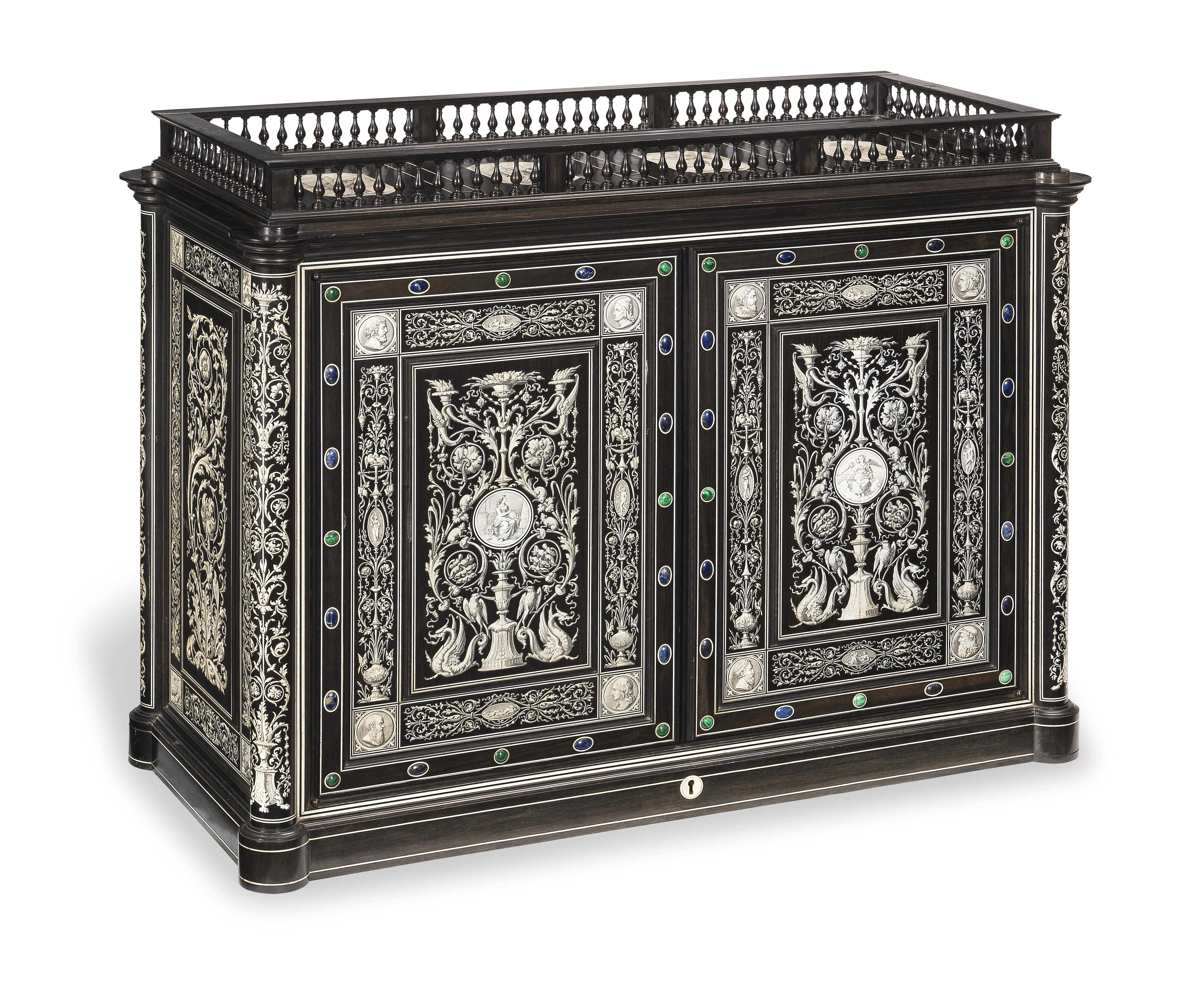 Lot 16 - An Italian 19th century Renaissance revival hardstone mounted ebony and engraved ivory marquetry ...
