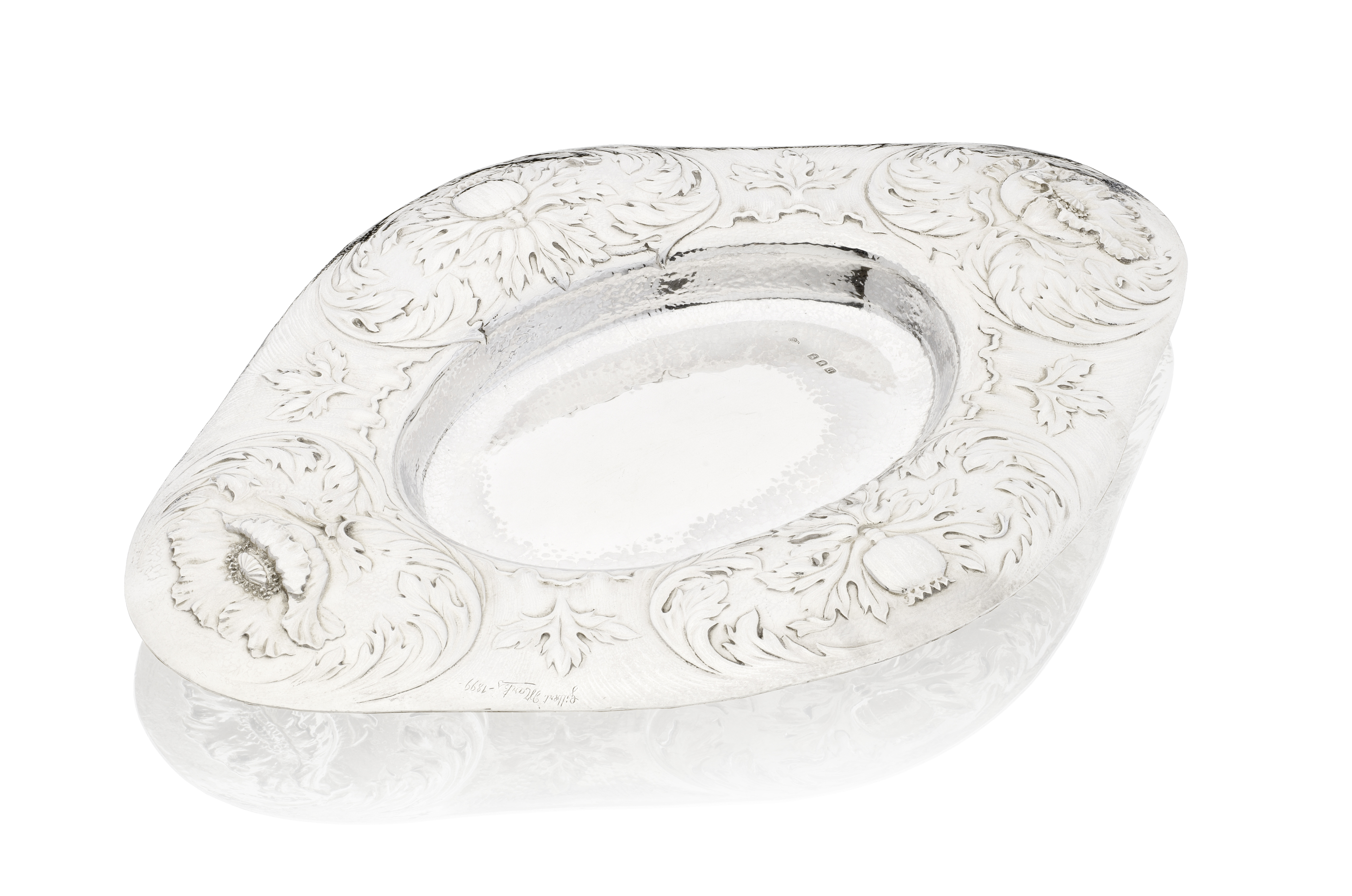 Lot 10 - A Victorian Arts and Crafts silver dish Gilbert Marks, London 1899, Britannia standard, also sign...