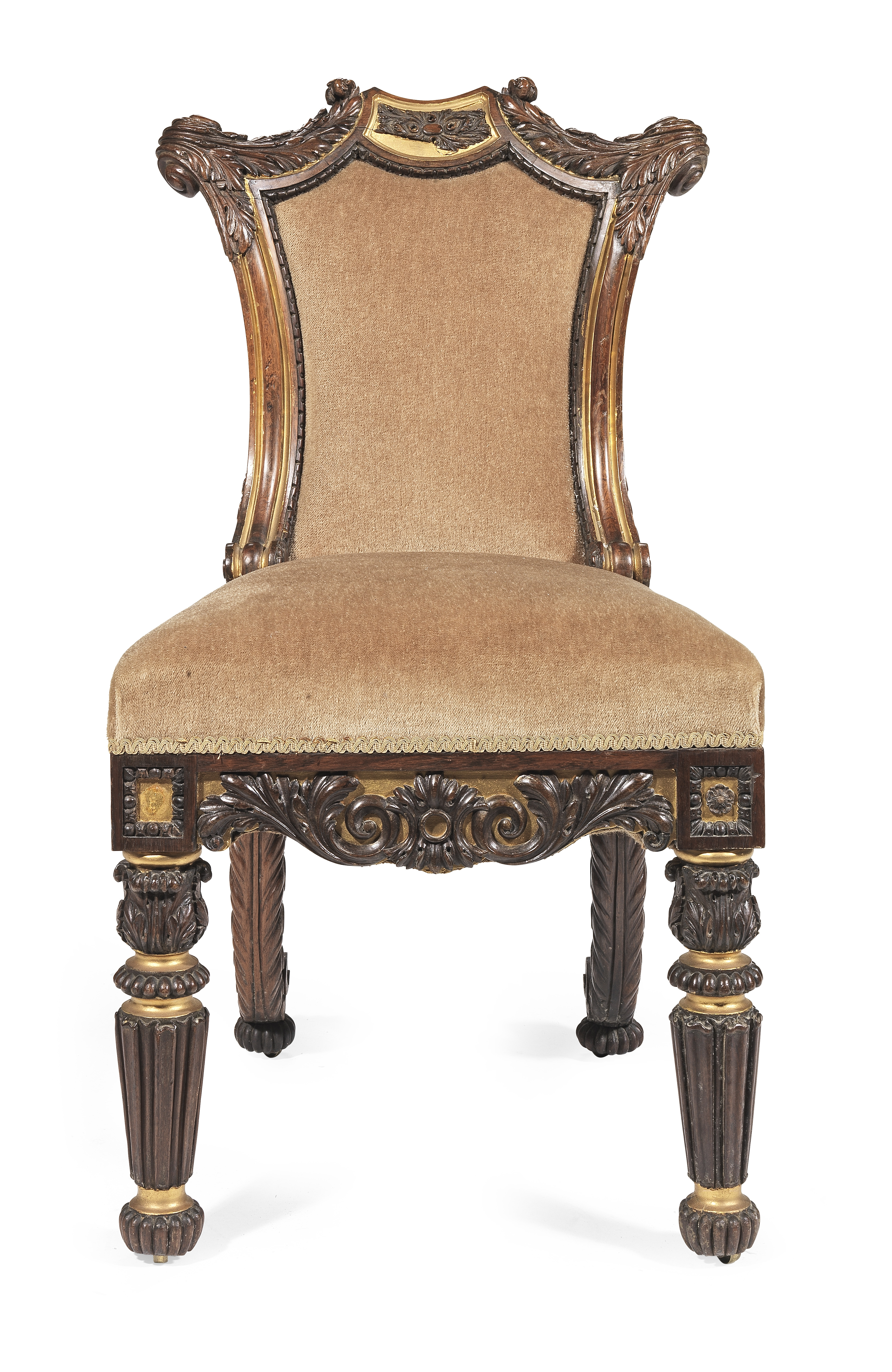 Lot 46 - A George IV solid rosewood and parcel gilt suite of seat furniture attributed to Gillows comprisi...