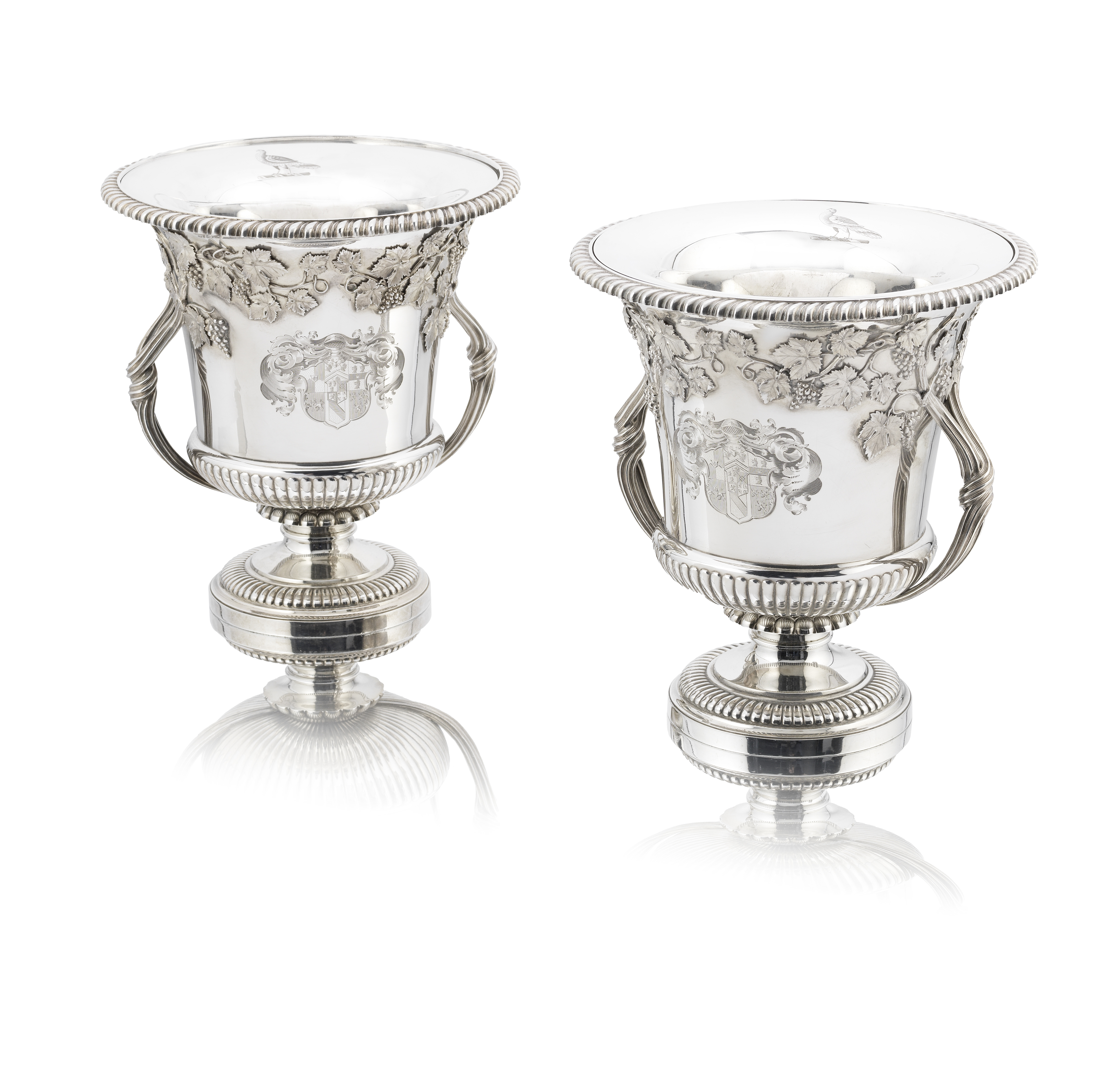 Lot 33 - A pair of George III / IV silver wine coolers Philip Rundell, London 1819 / 1822 (2)