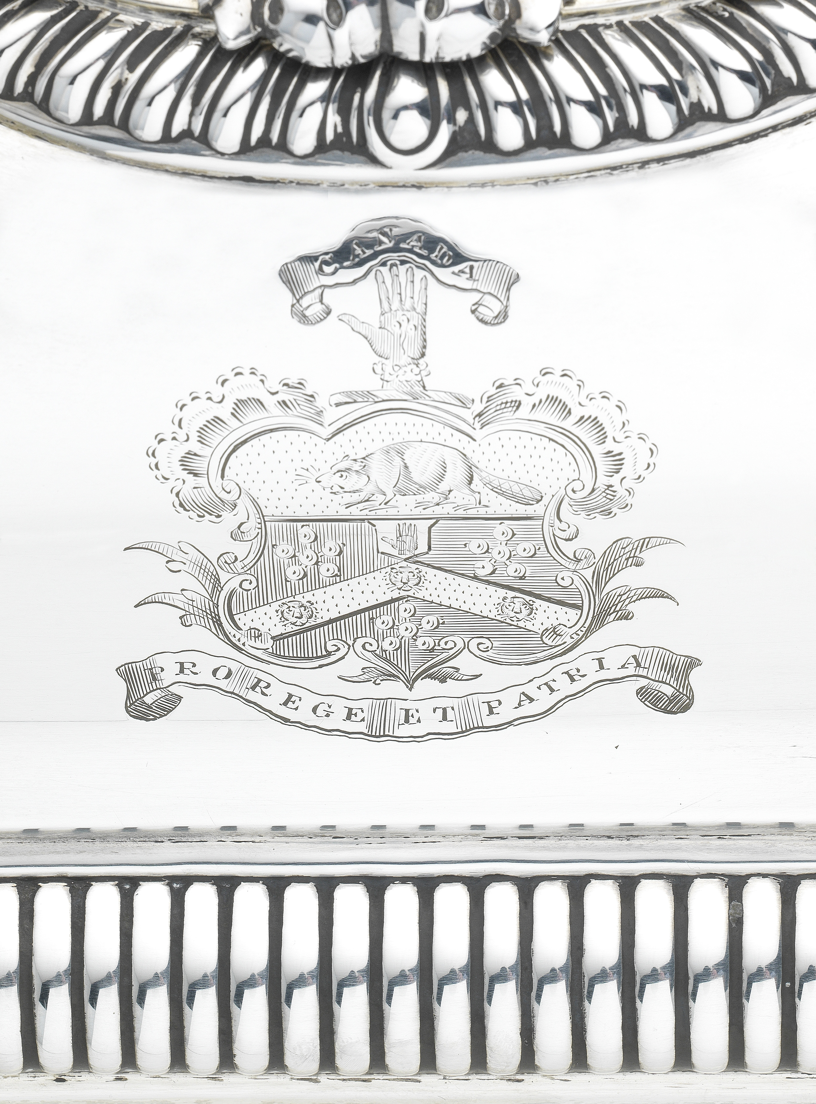Lot 35 - A pair of George III silver entrée dishes on Old Sheffield plate stands Philip Rundell, London 1819