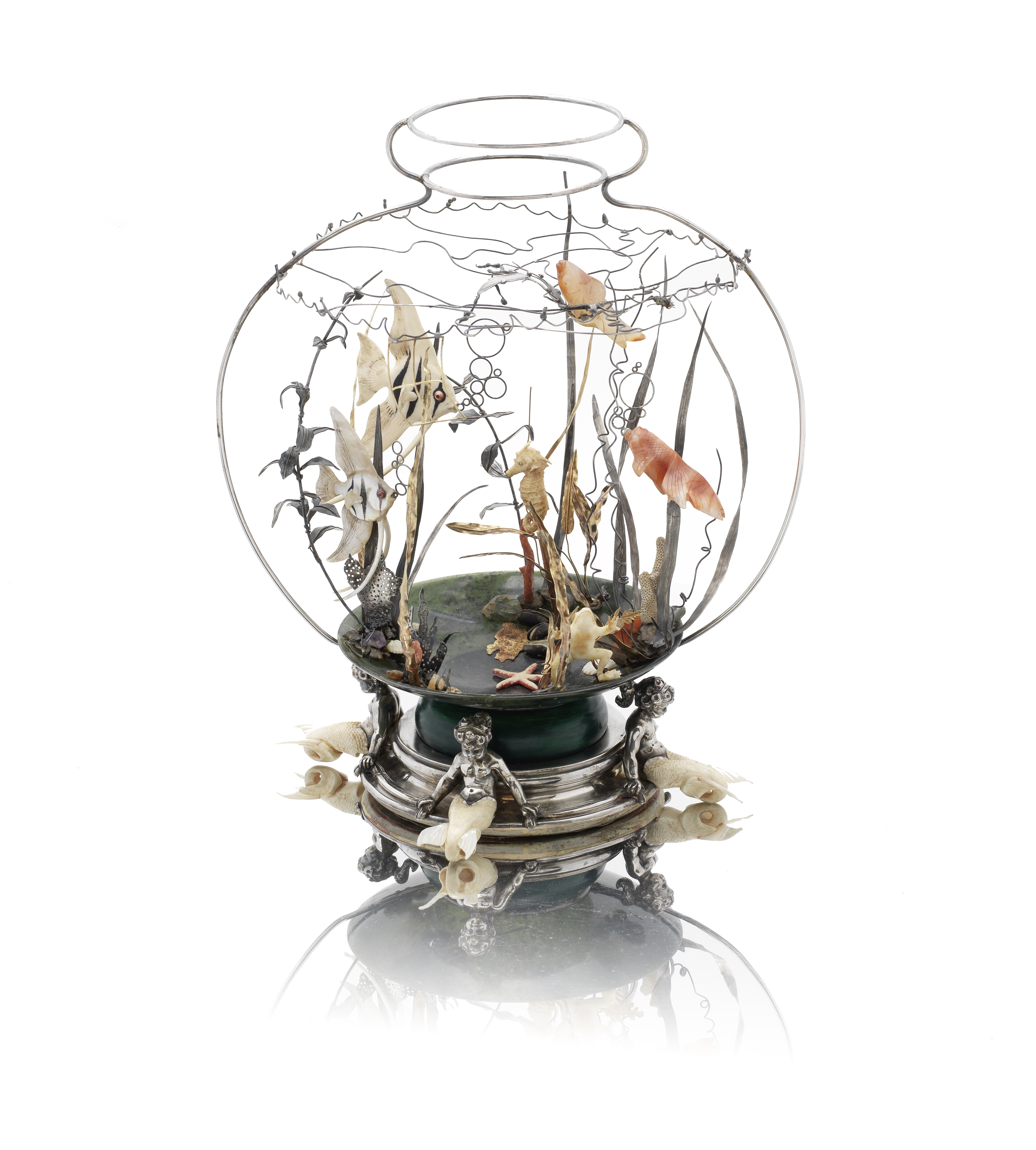 Lot 8 - An extraordinary silver, gold and hardstone fishbowl sculpture by Tétard Frères, Paris circa 1920