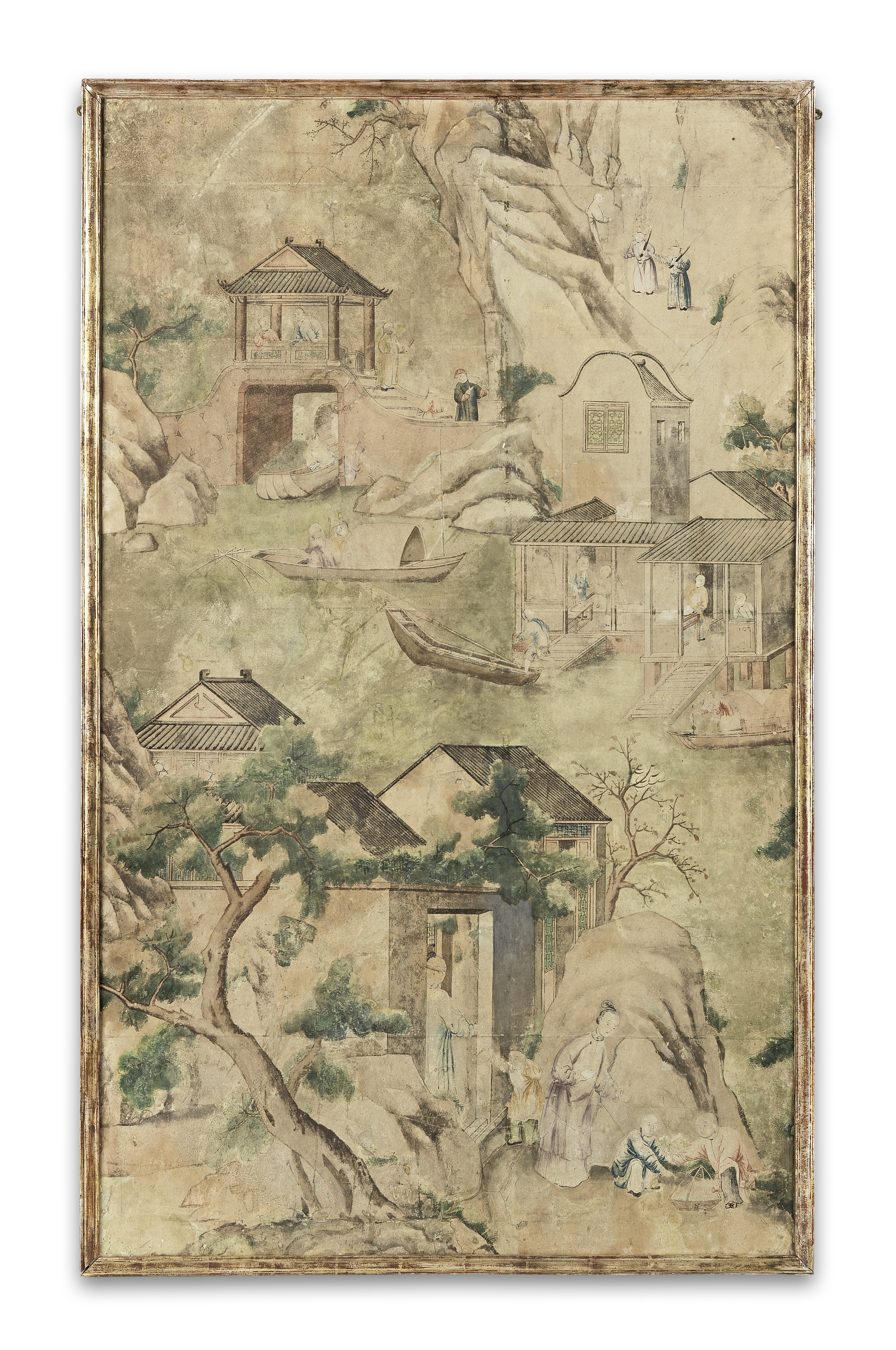 Lot 30 - The Moor Park Wallpapers: A set of fifteen late 18th century Chinese wallpaper panels (15)