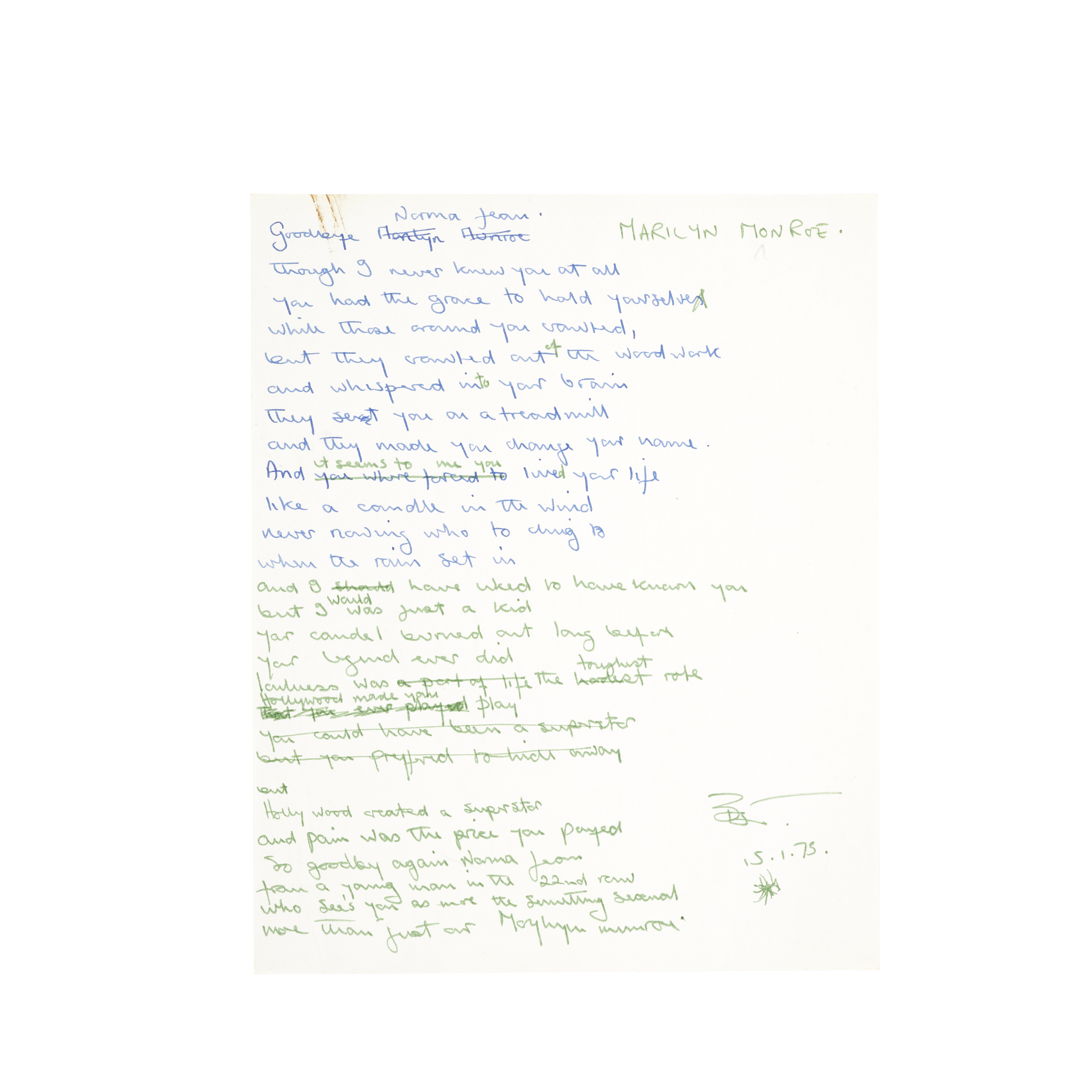Lot 52 - Original handwritten lyrics for the Elton John song 'Candle in the Wind'