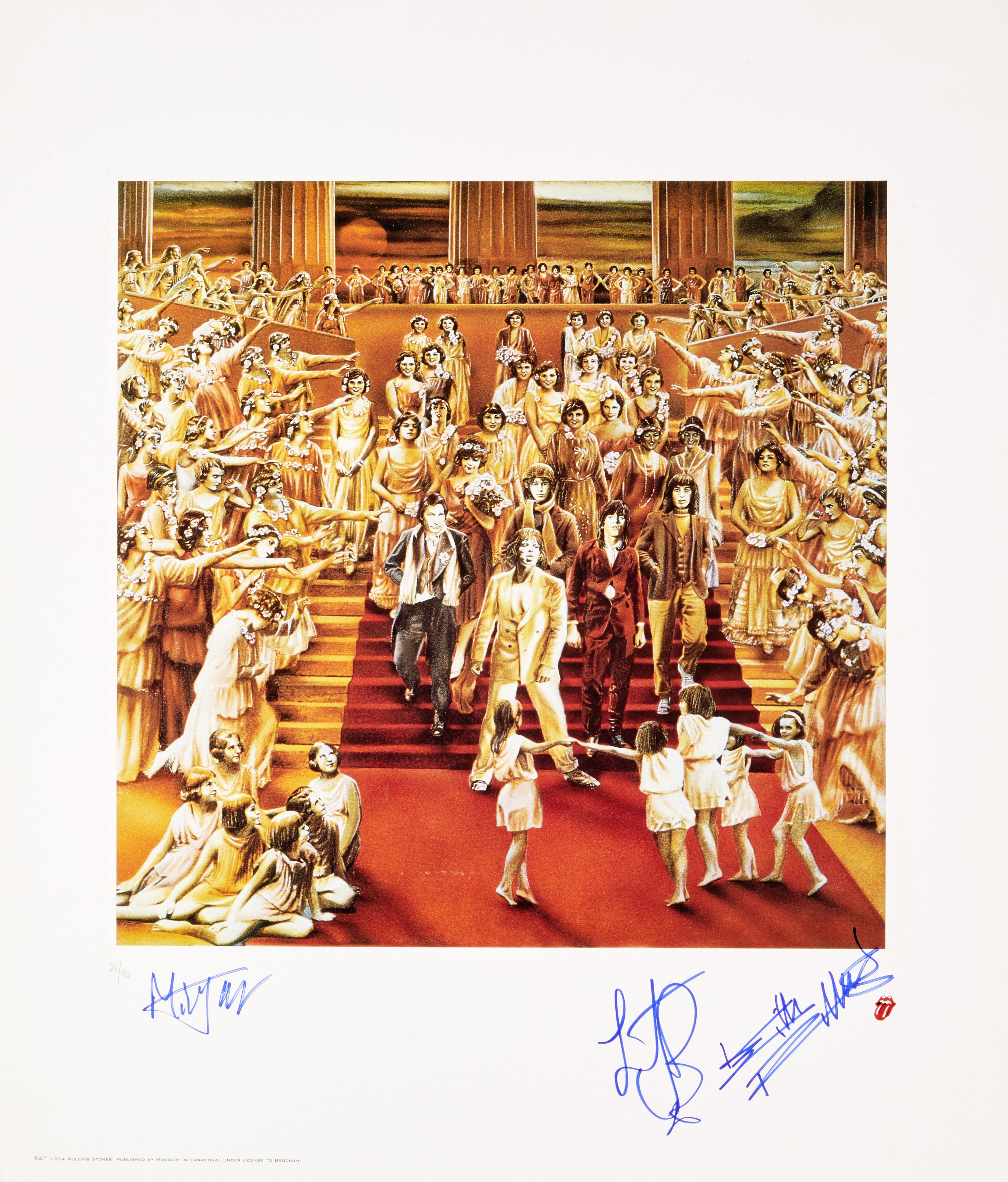 Lot 44 - A Rolling Stones Limited Edition Signed Print Of The Album Cover It's Only Rock 'N Roll mid 1990s