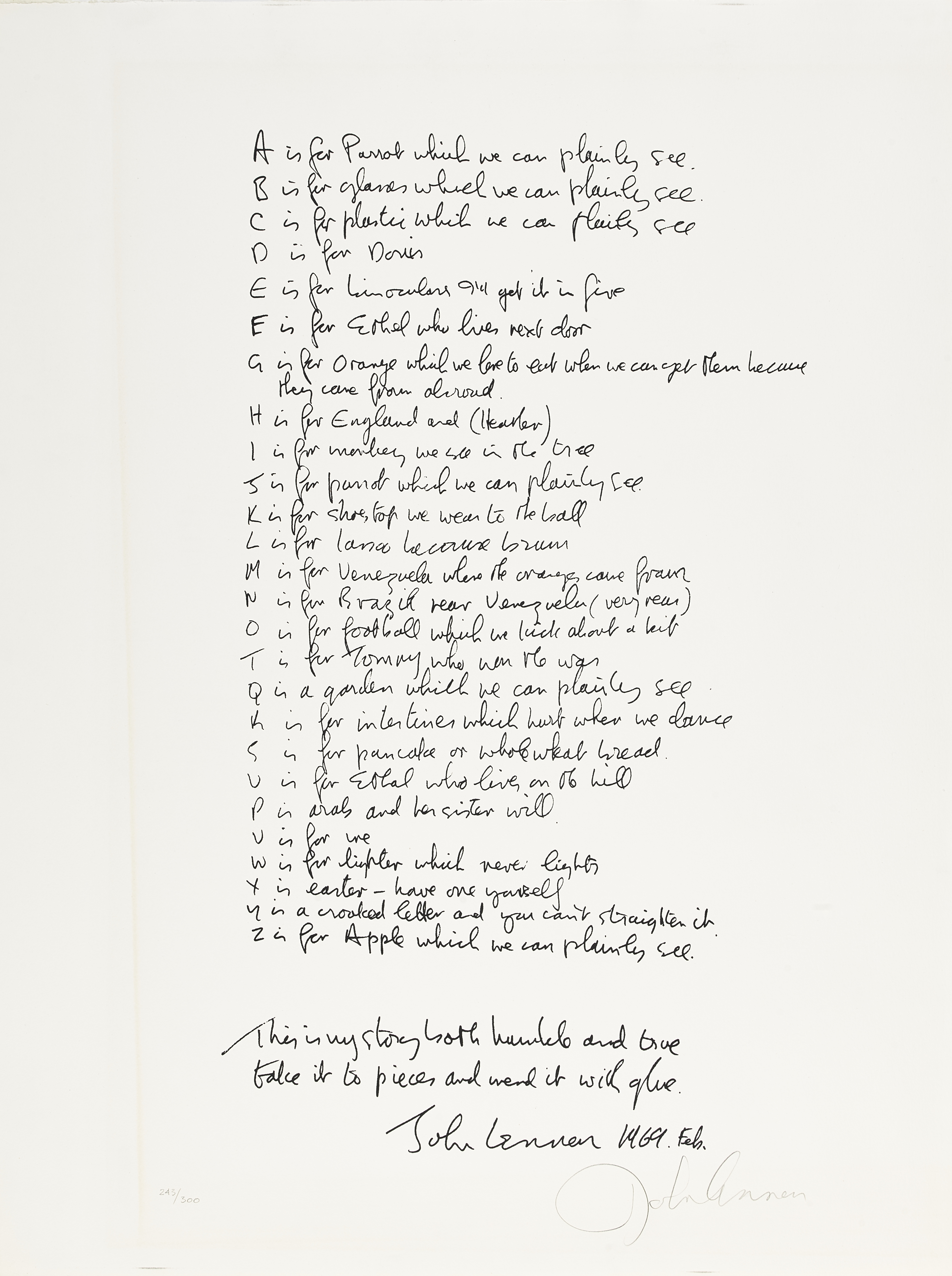 Lot 23 - A John Lennon Signed 'Bag One' Lithograph 'Poet's Page (A-Z)' 1970