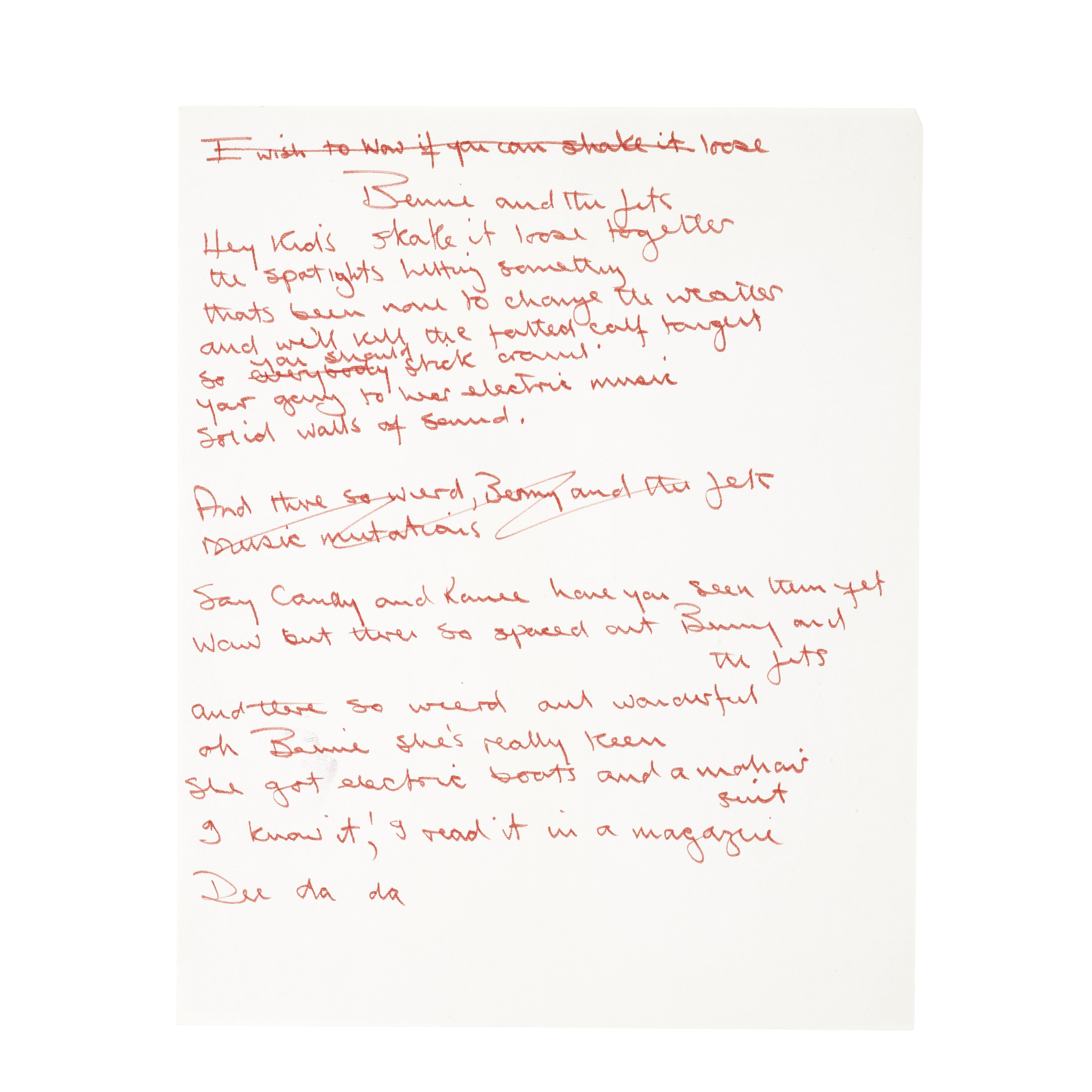 Lot 54 - Original handwritten lyrics of Elton John's 'Bennie and the Jets'
