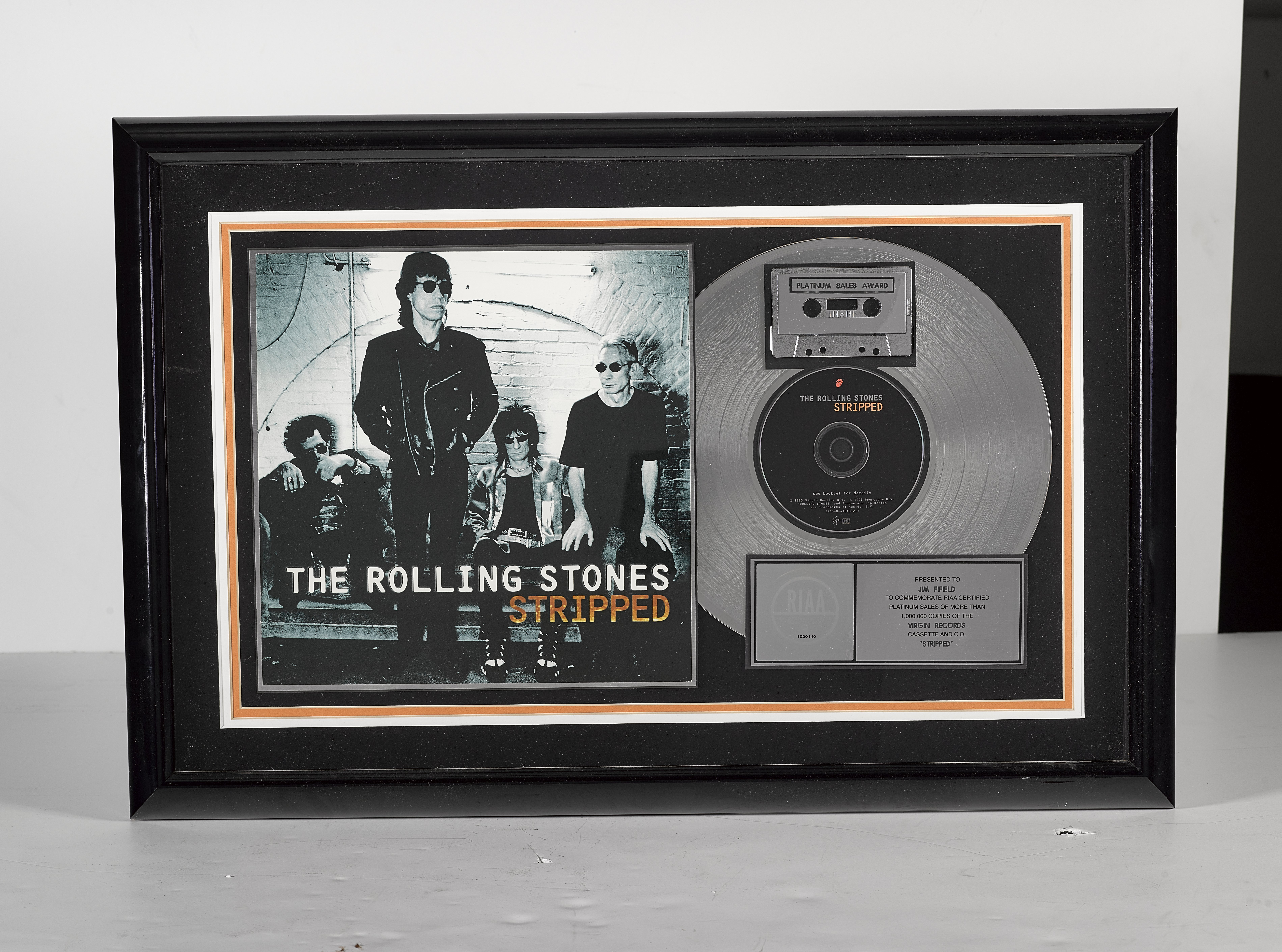 Lot 45 - A Rolling Stones 'Platinum' Sales Award For The Album Stripped 1996