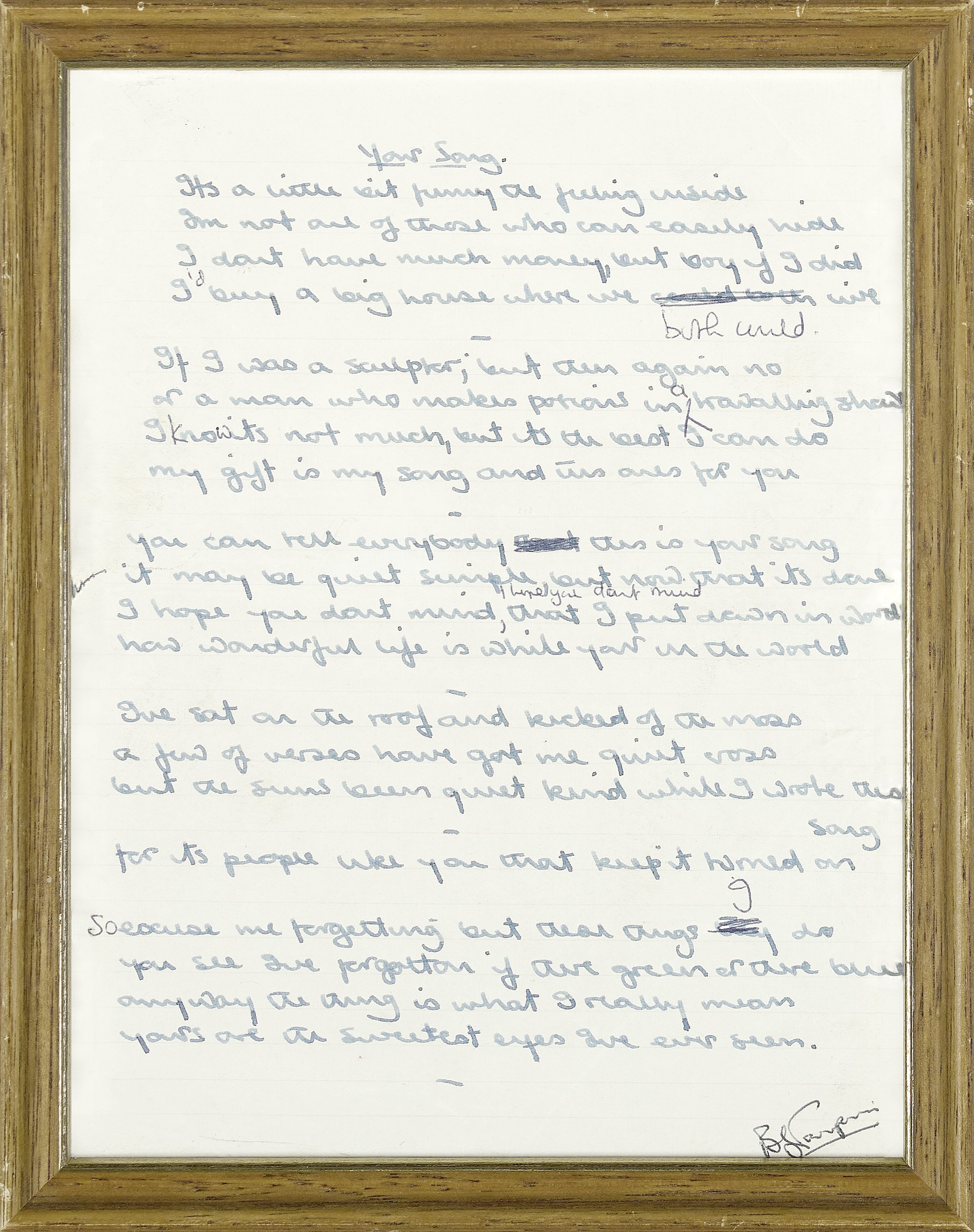 Lot 45A - THE ORIGINAL HANDWRITTEN LYRICS TO ELTON JOHN'S 'YOUR SONG' with 'The Songs of Elton John and Ber...