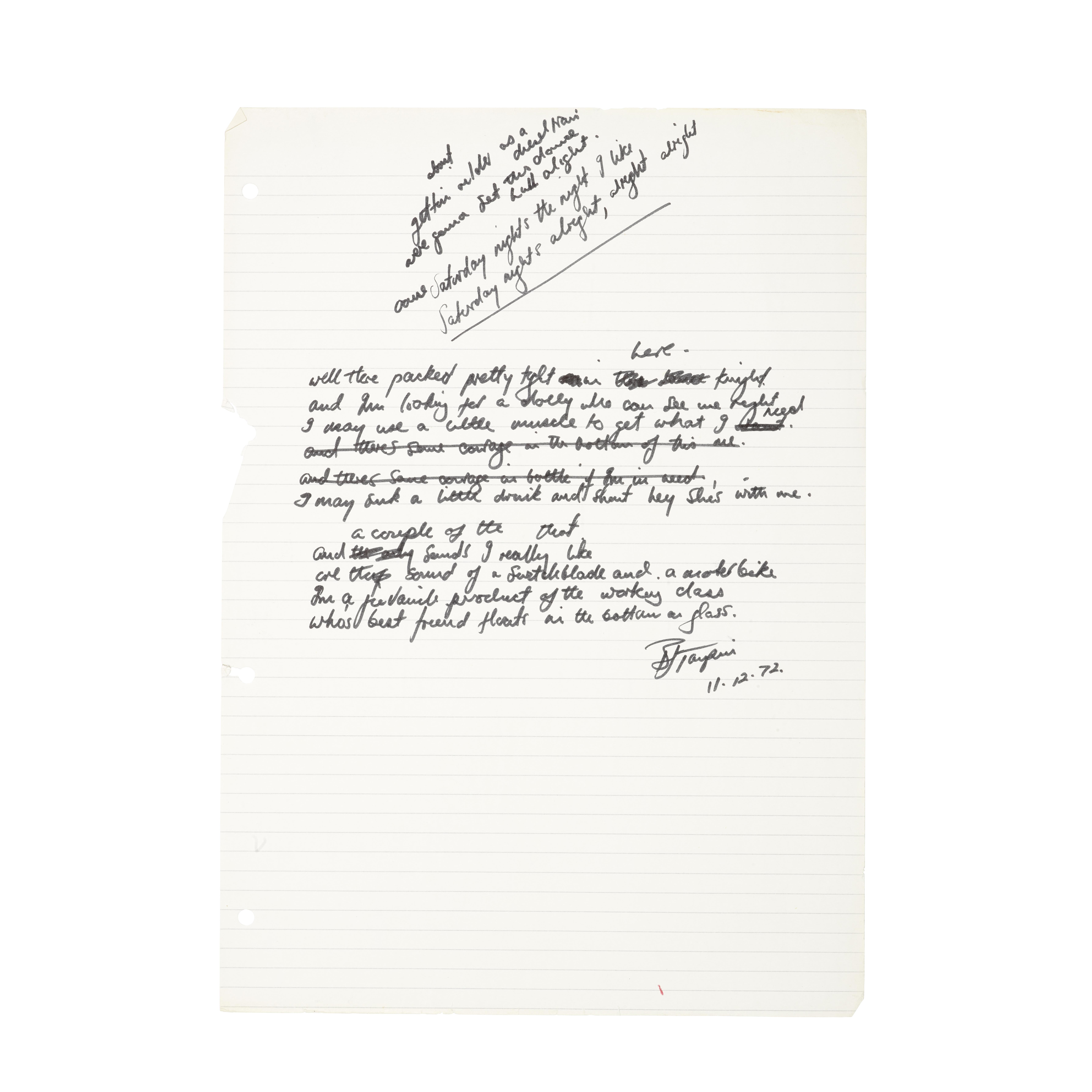 Lot 53 - Original handwritten lyrics for Elton John's 'Saturday Night's Alright for Fighting'