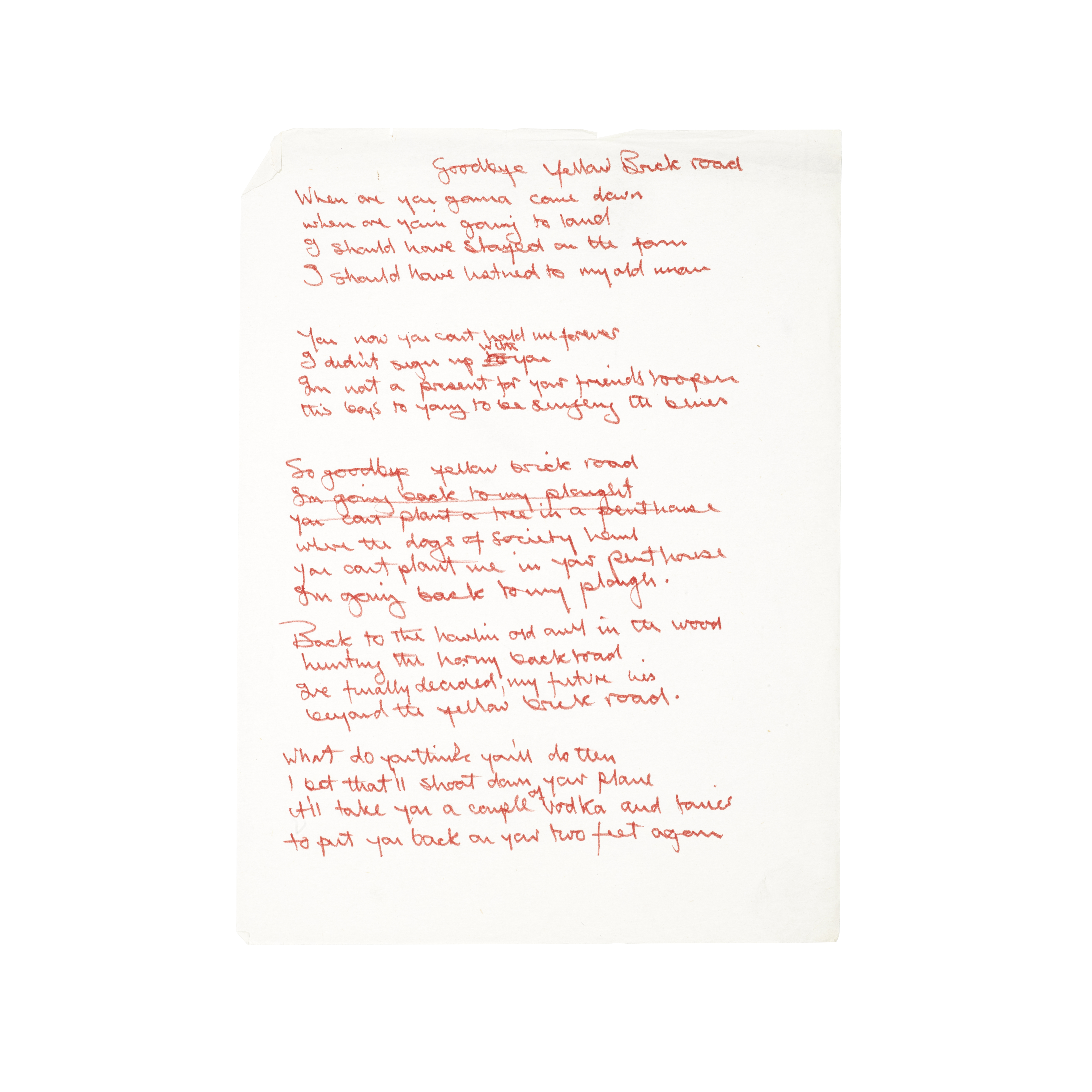 Lot 51 - Original handwritten lyrics for Elton John's 'Goodbye, Yellow Brick Road'
