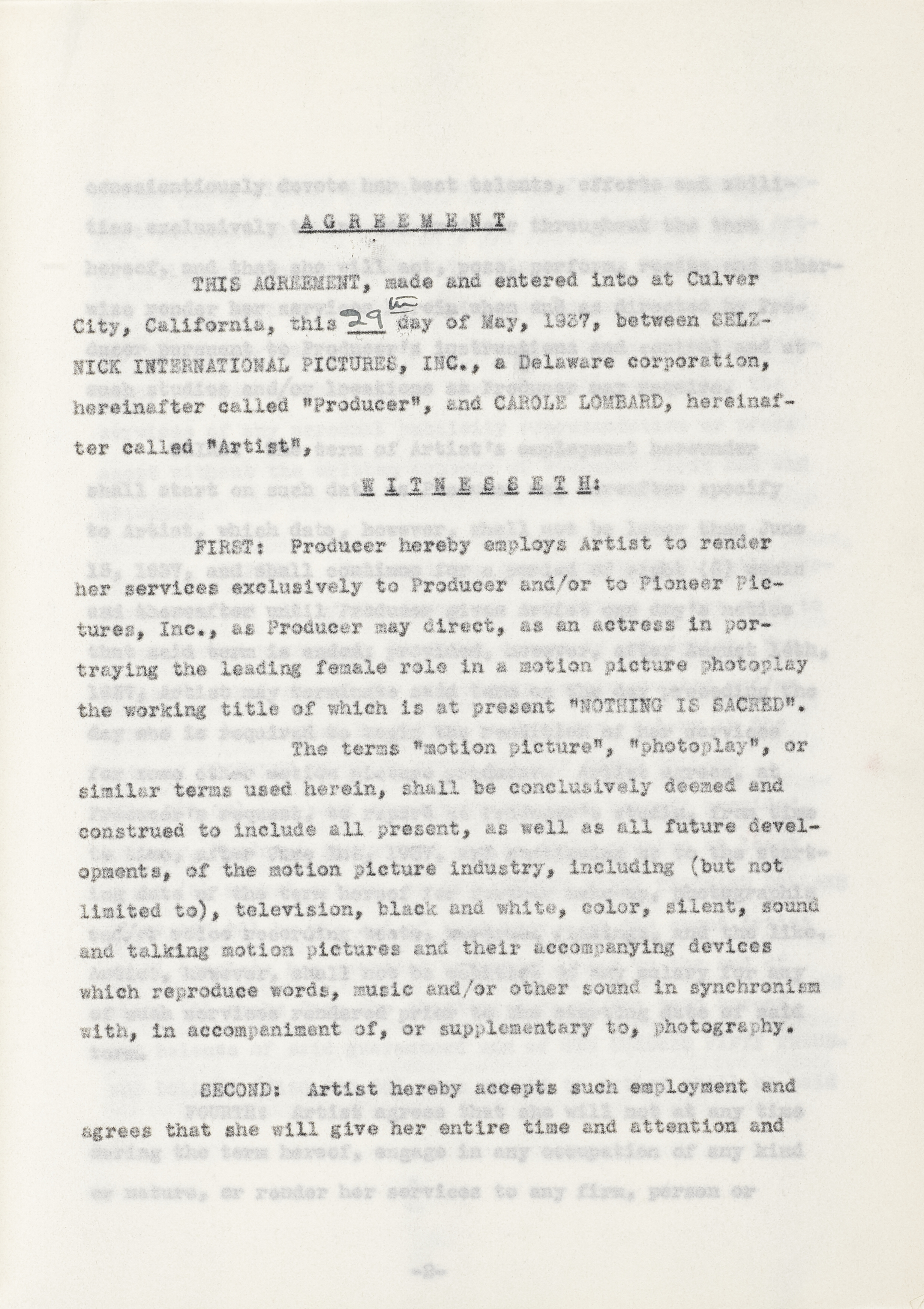 Lot 1020 - A Carole Lombard signed contract for Nothing Sacred