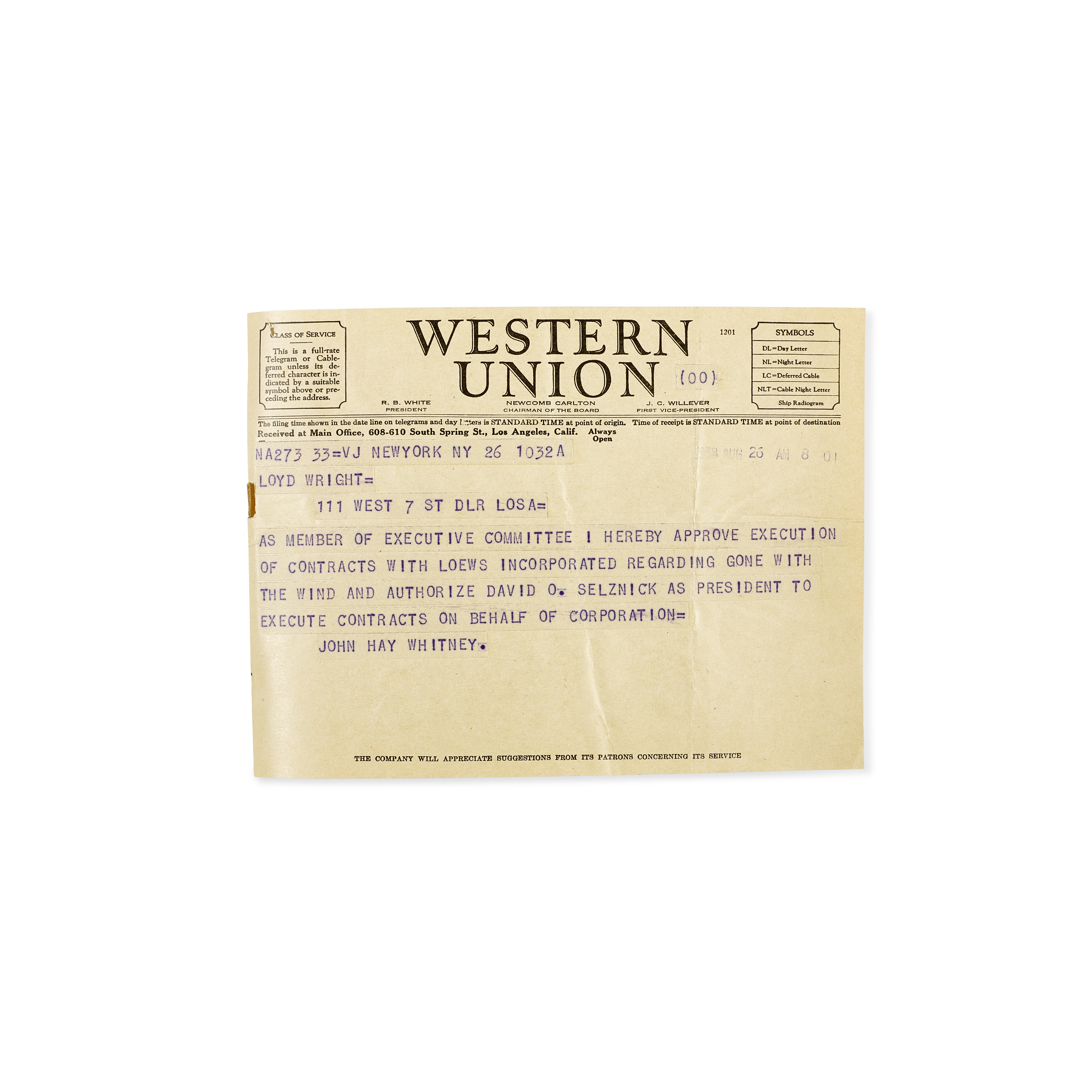 Lot 1039 - A David O. Selznick signed resolution to produce Gone With the Wind