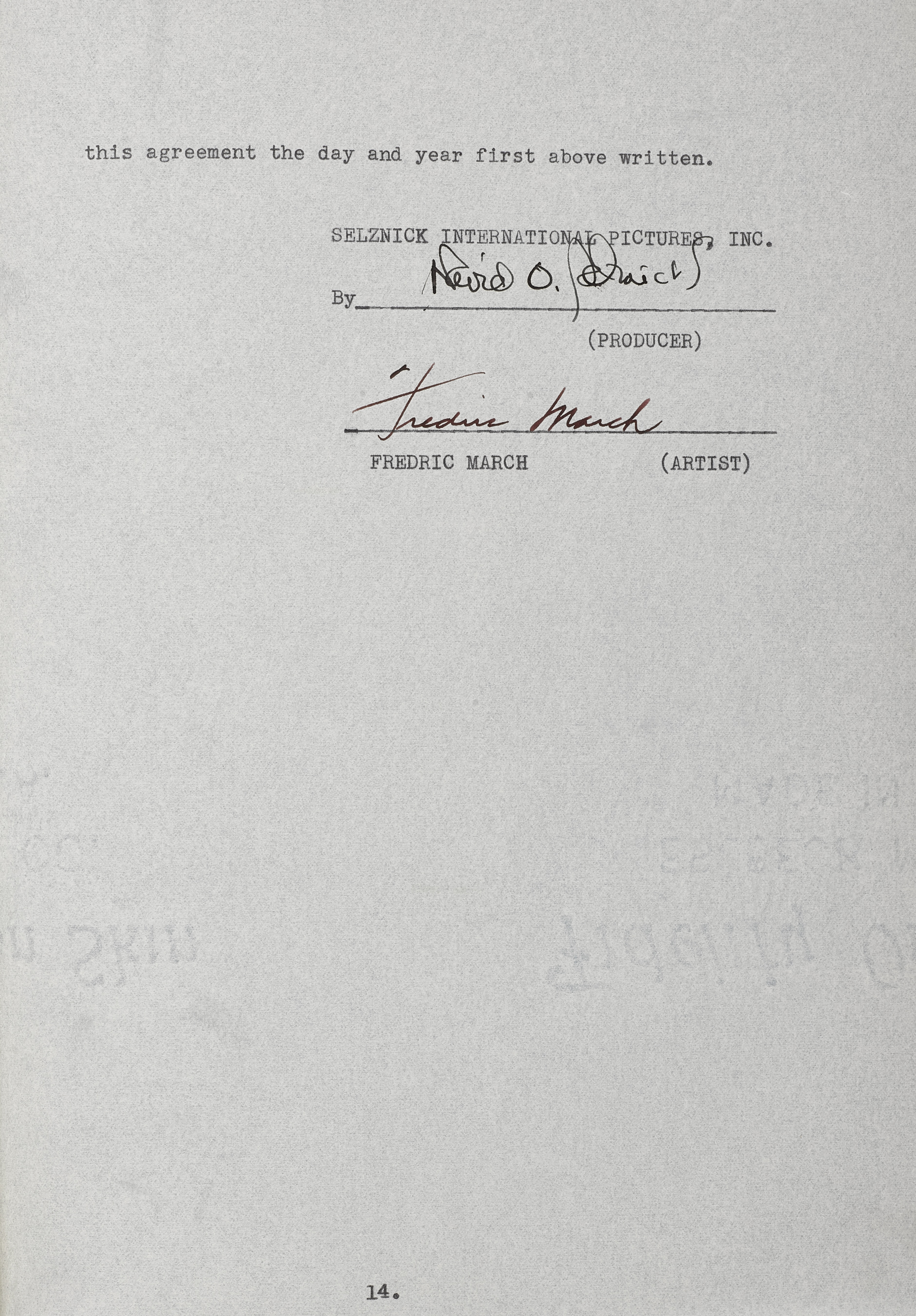 Lot 1022 - A Fredric March signed contract for A Star is Born