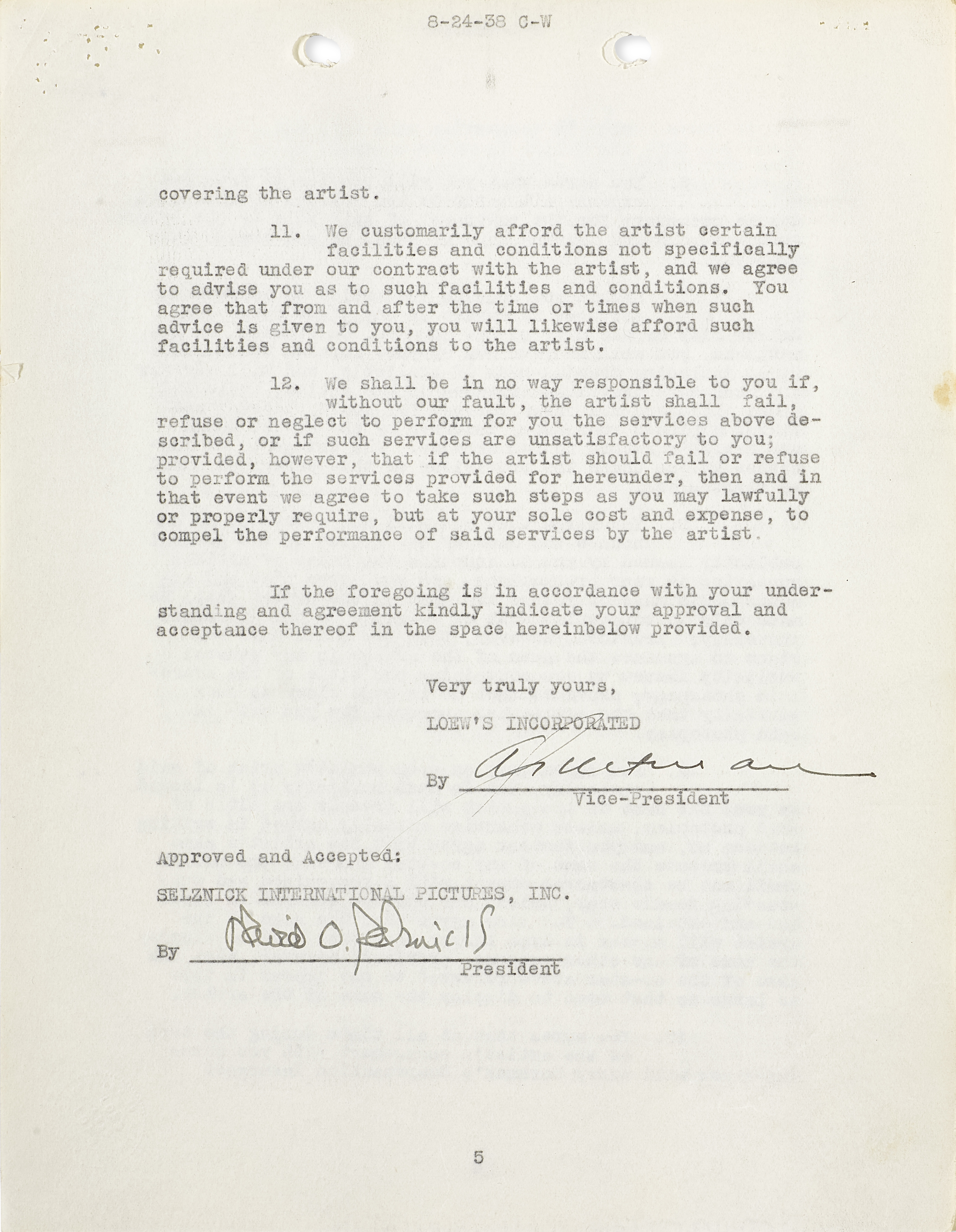 Lot 1040 - A Clark Gable loan-out agreement for Gone With the Wind