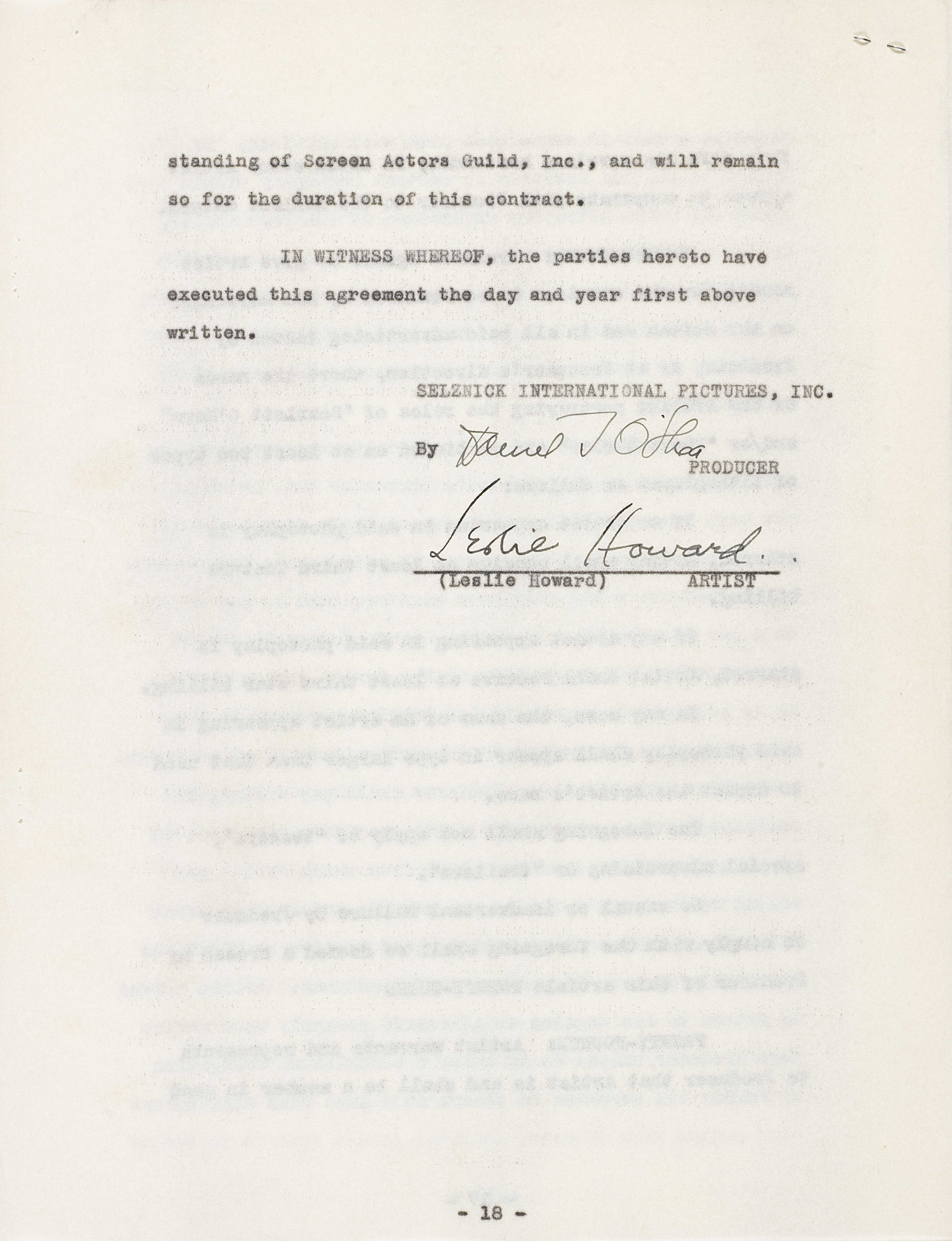 Lot 1045 - A Leslie Howard signed contract for Gone With the Wind