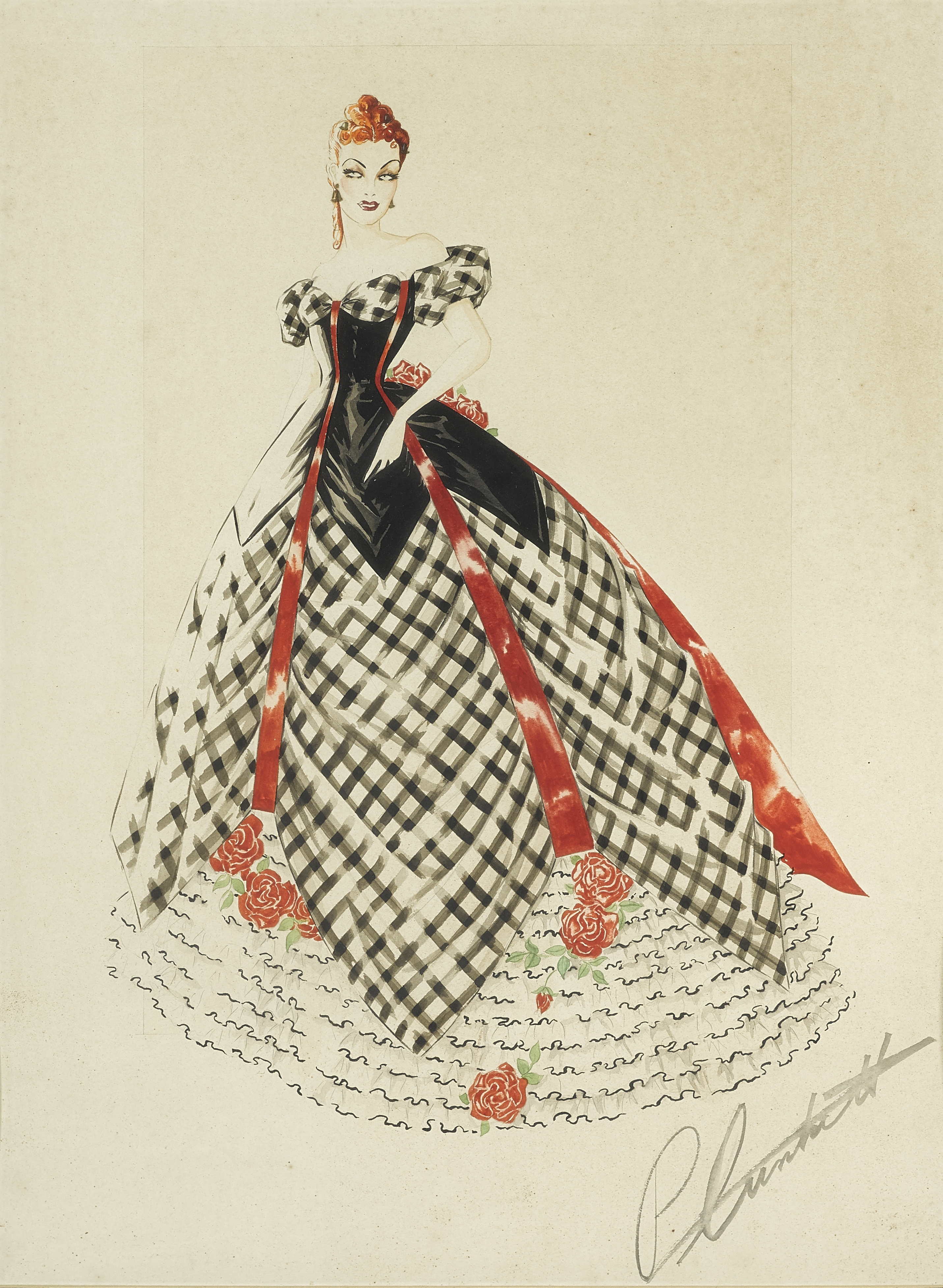 Lot 1042 - A Walter Plunkett costume sketch for Belle Watling in Gone With the Wind