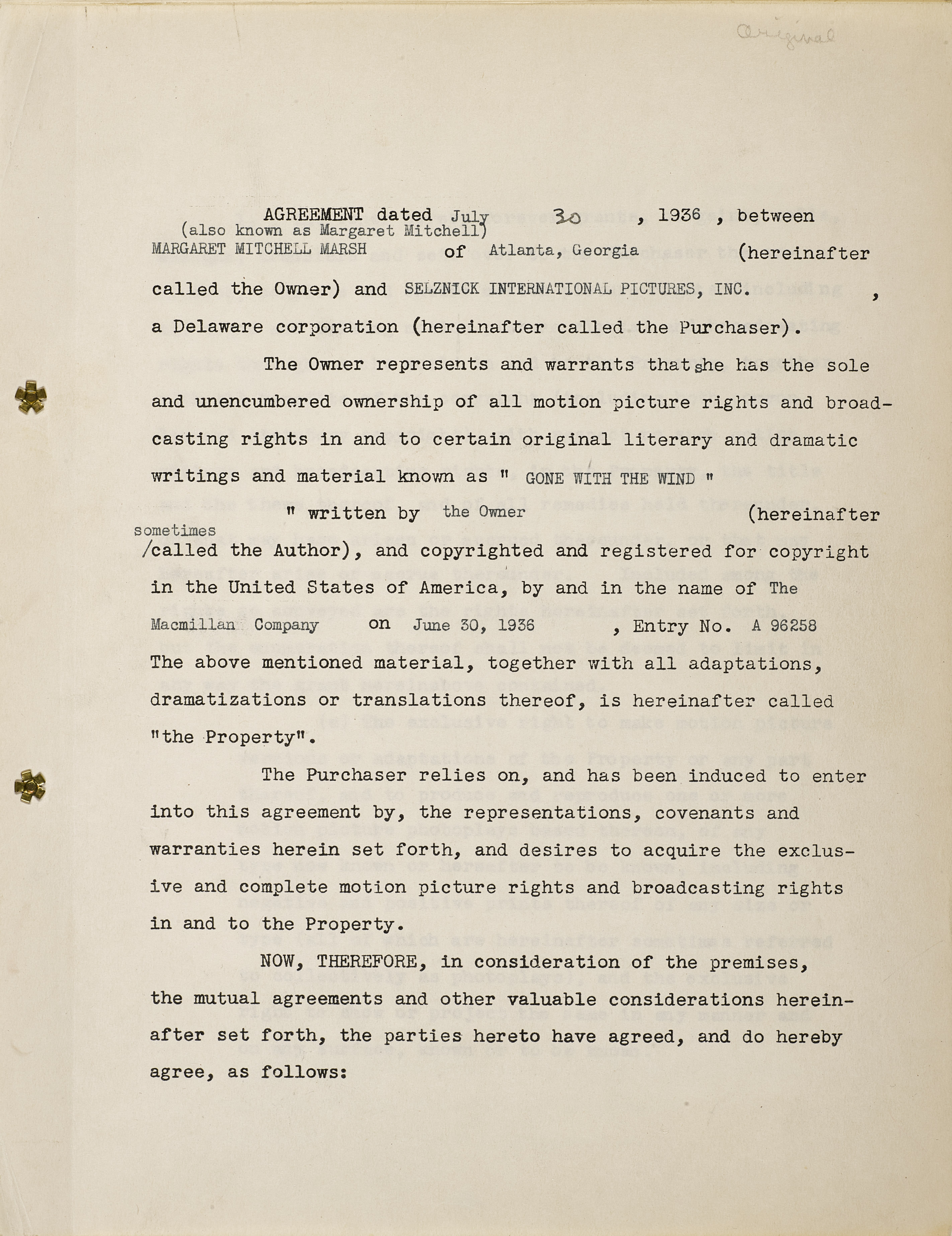 Lot 1029 - A Margaret Mitchell signed contract selling the film rights of Gone With the Wind to David O. Sel...
