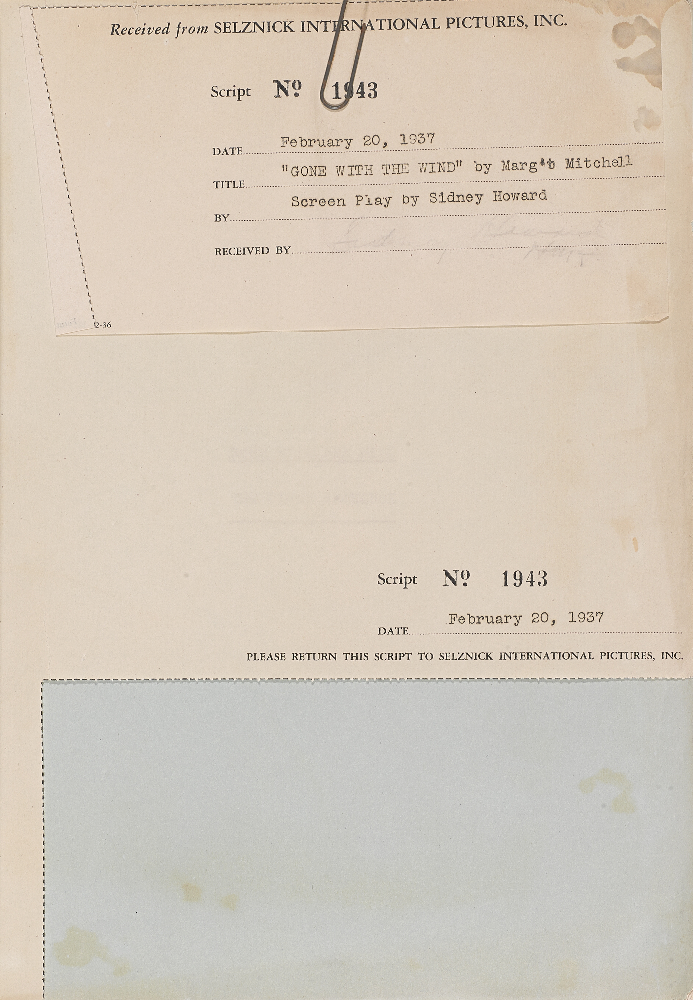 Lot 1034 - A Gone With the Wind screenplay