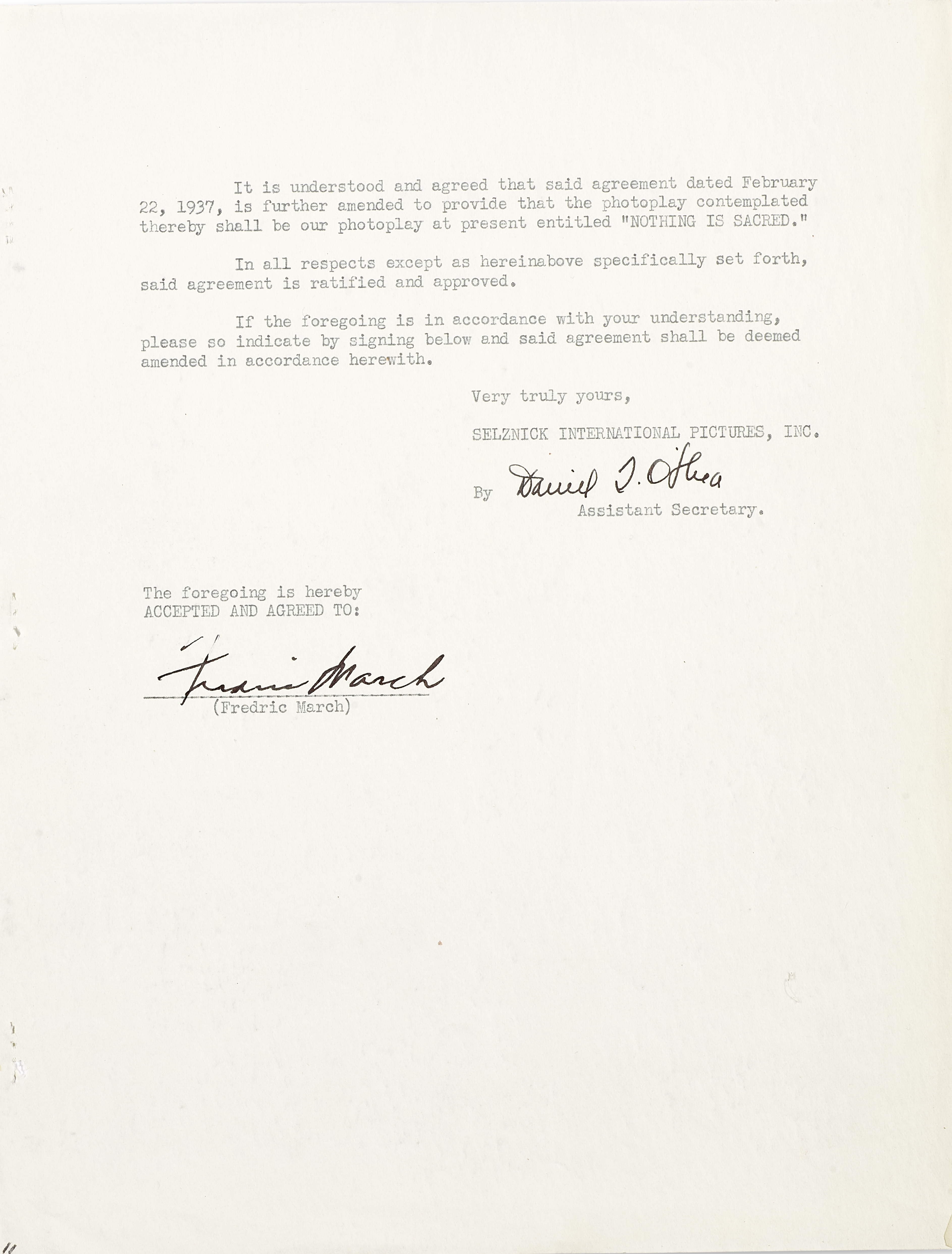 Lot 1021 - A Fredric March signed contract