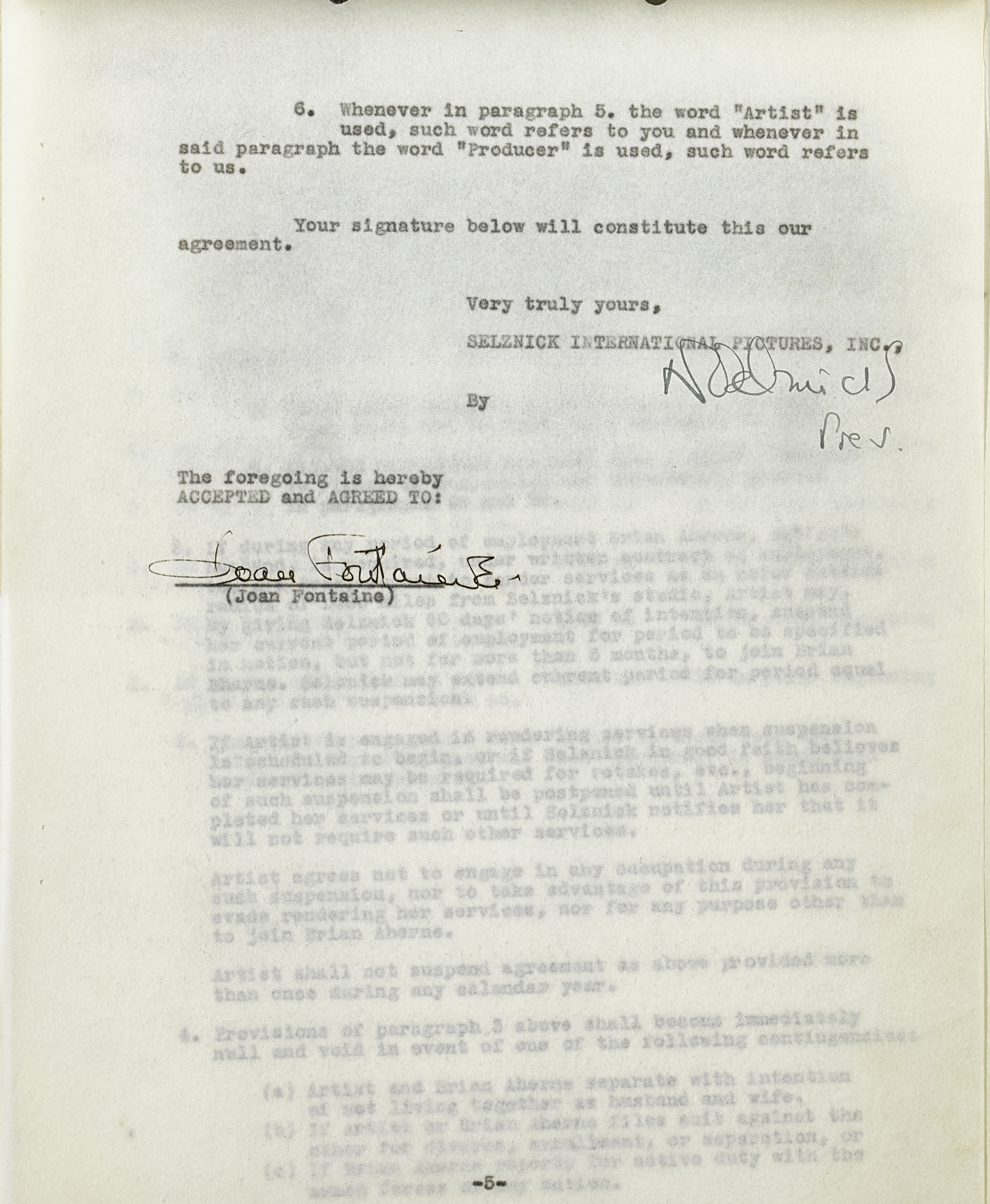 Lot 1027 - A Joan Fontaine contract with Selznick International Pictures