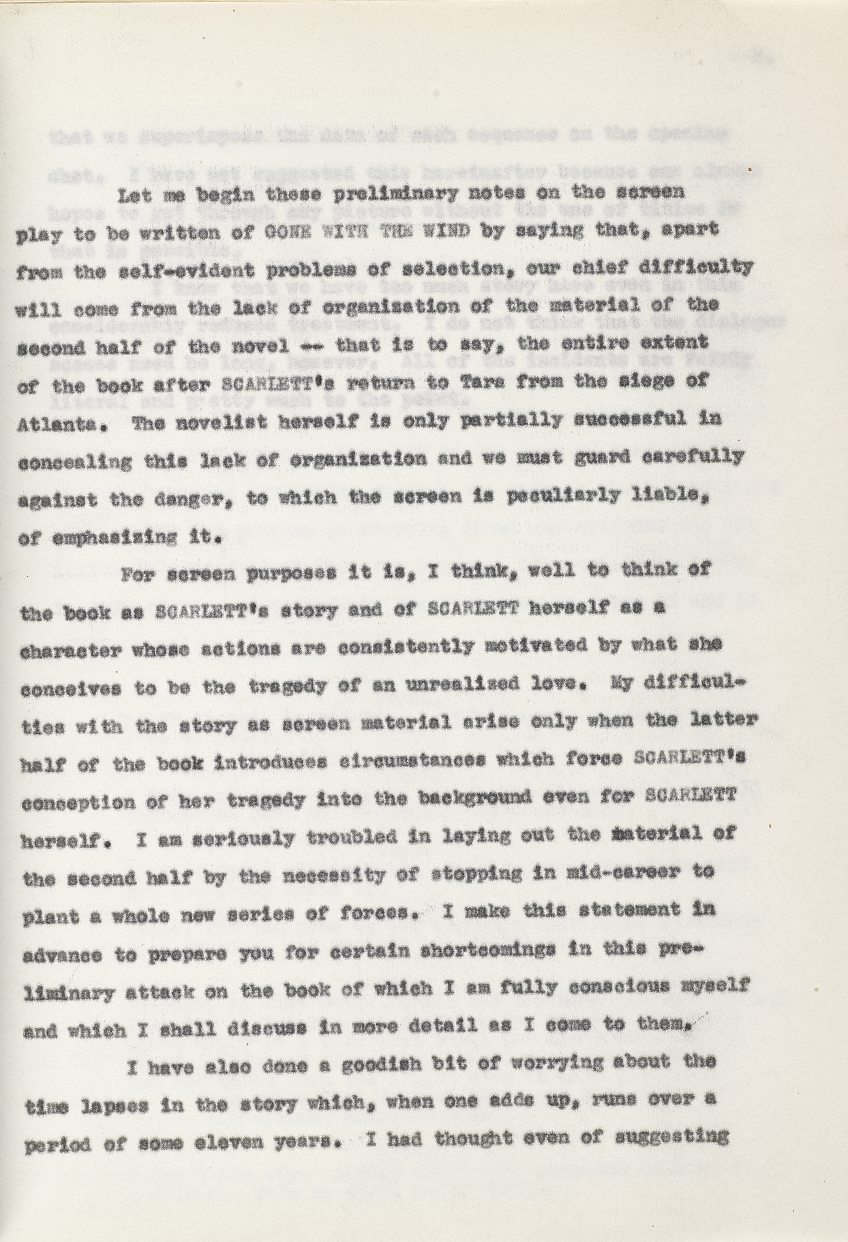 Lot 1033 - A Gone With the Wind preliminary story treatment by Sidney Howard