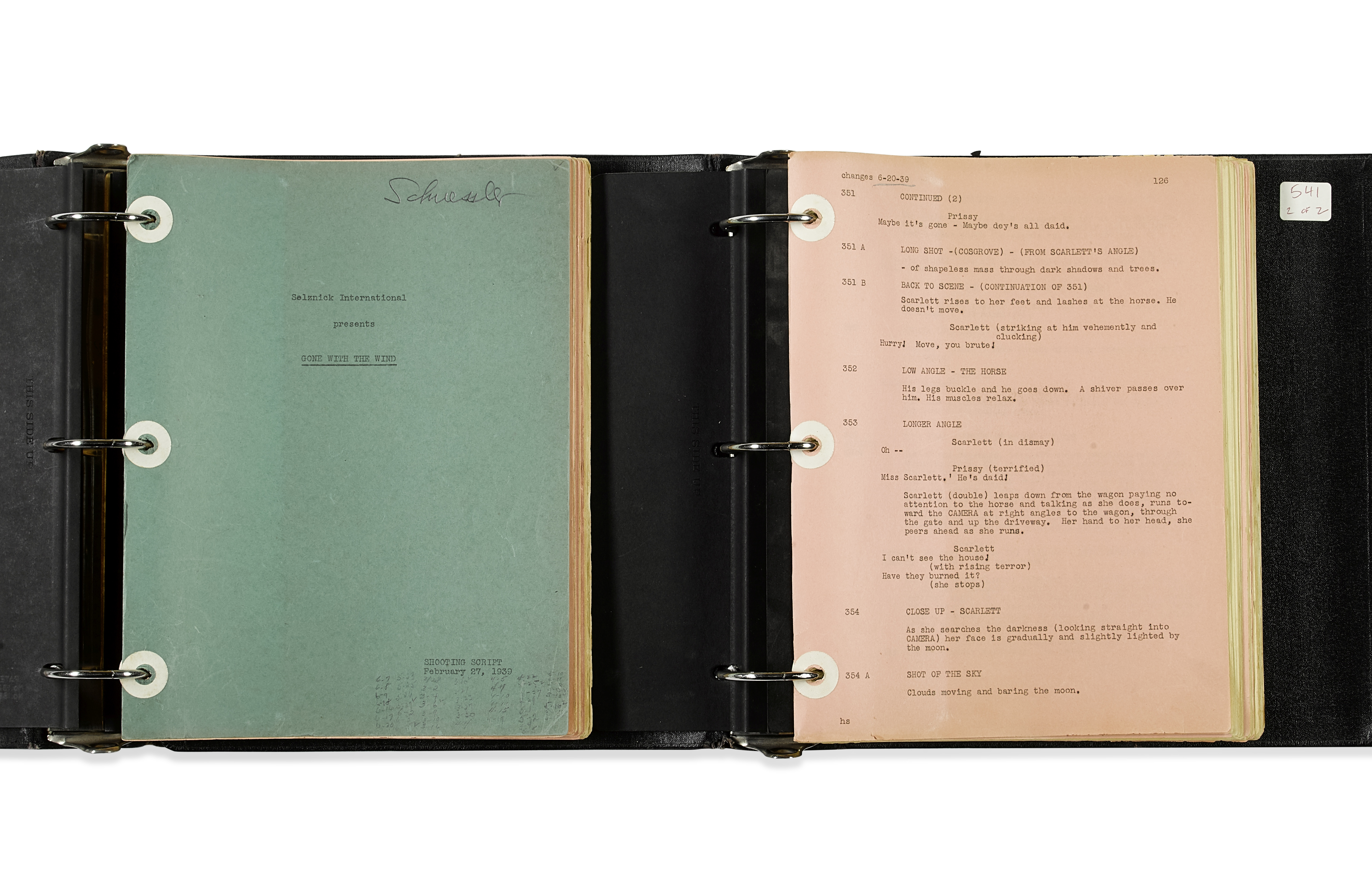 Lot 1046 - A Gone With the Wind shooting script belonging to casting director Fred Schuessler