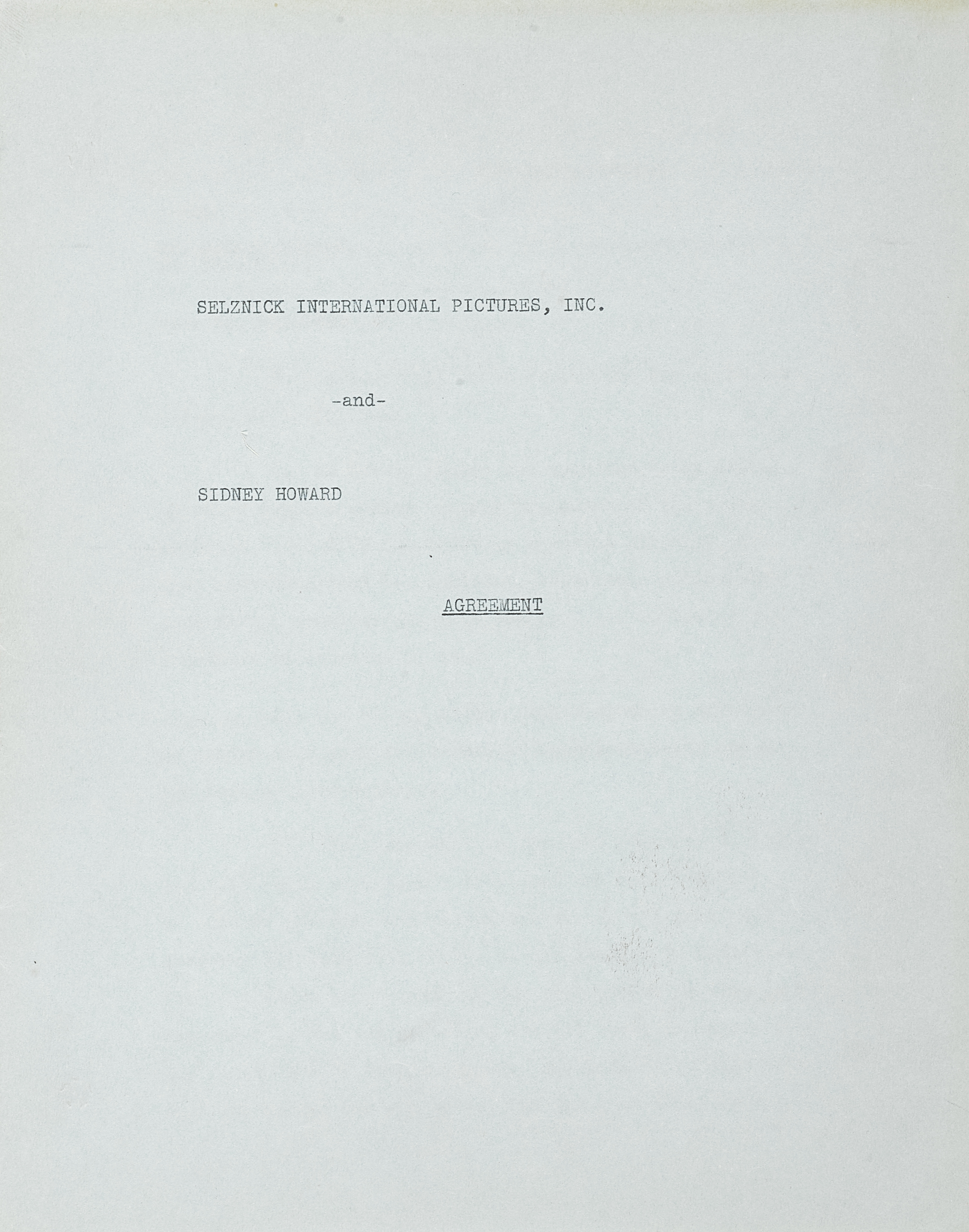 Lot 1031 - A Sidney Howard signed contract for Gone With the Wind