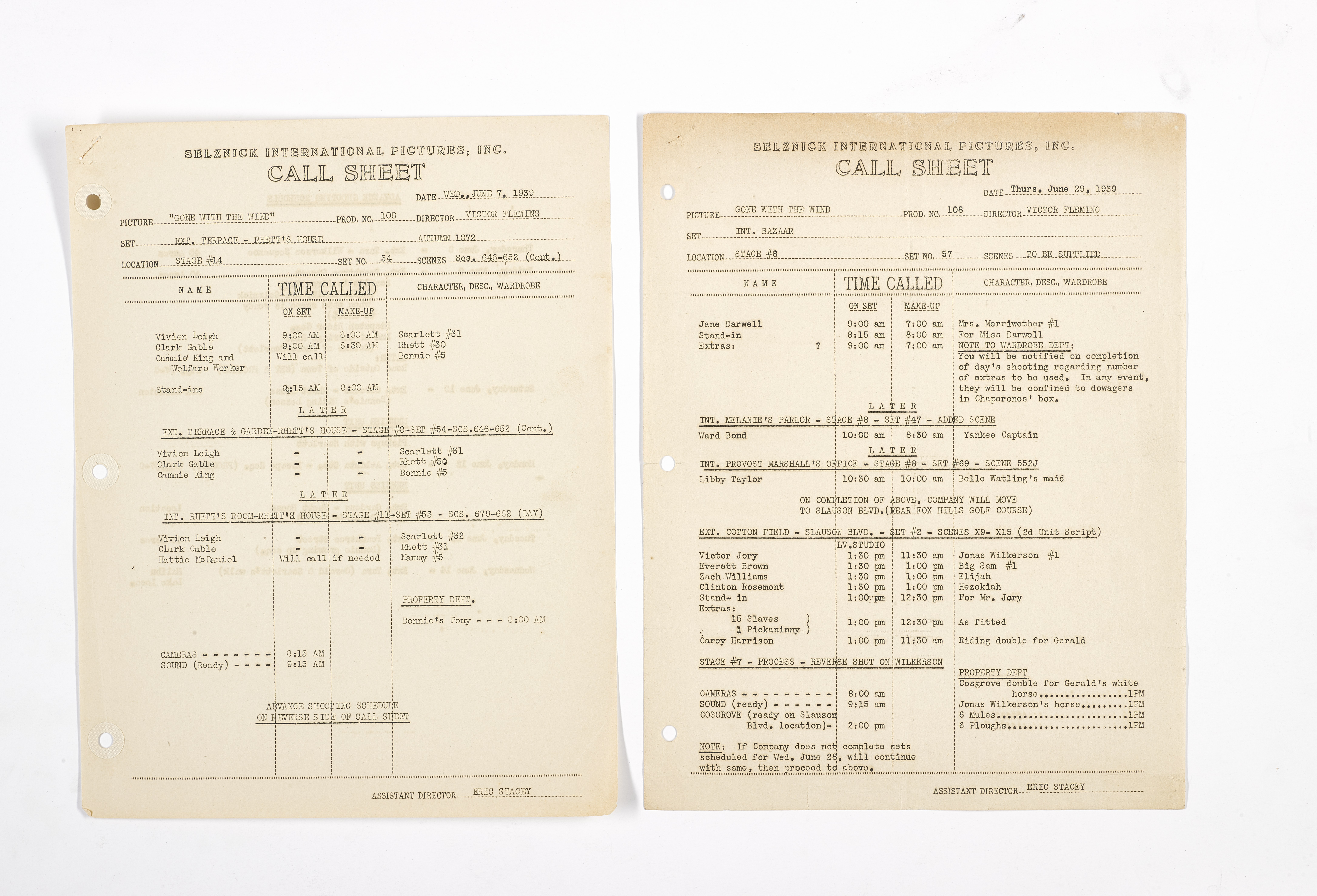 Lot 1048 - A Gone With the Wind pair of production call sheets