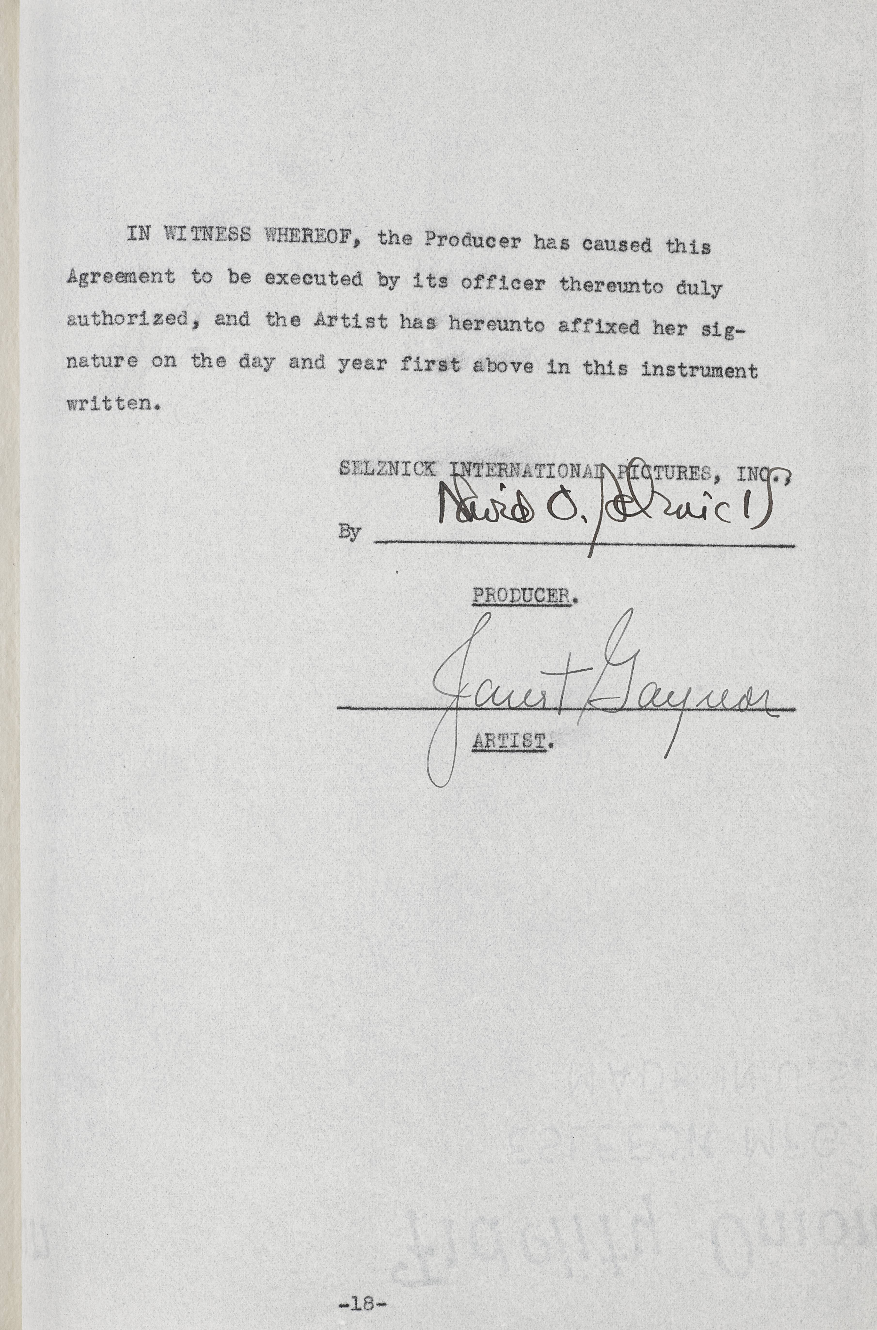 Lot 1023 - A Janet Gaynor signed contract for A Star Is Born