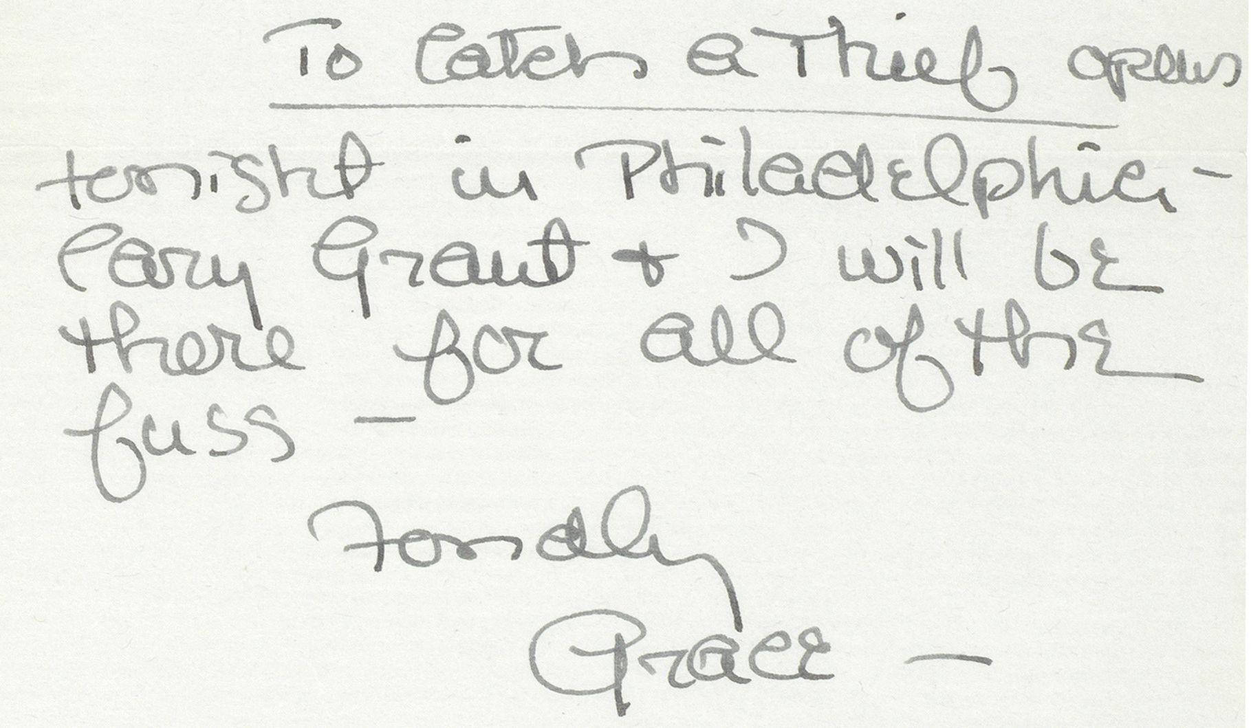 Lot 6 - Grace Kelly: A handwritten letter to Bing Crosby, undated, but 1955,