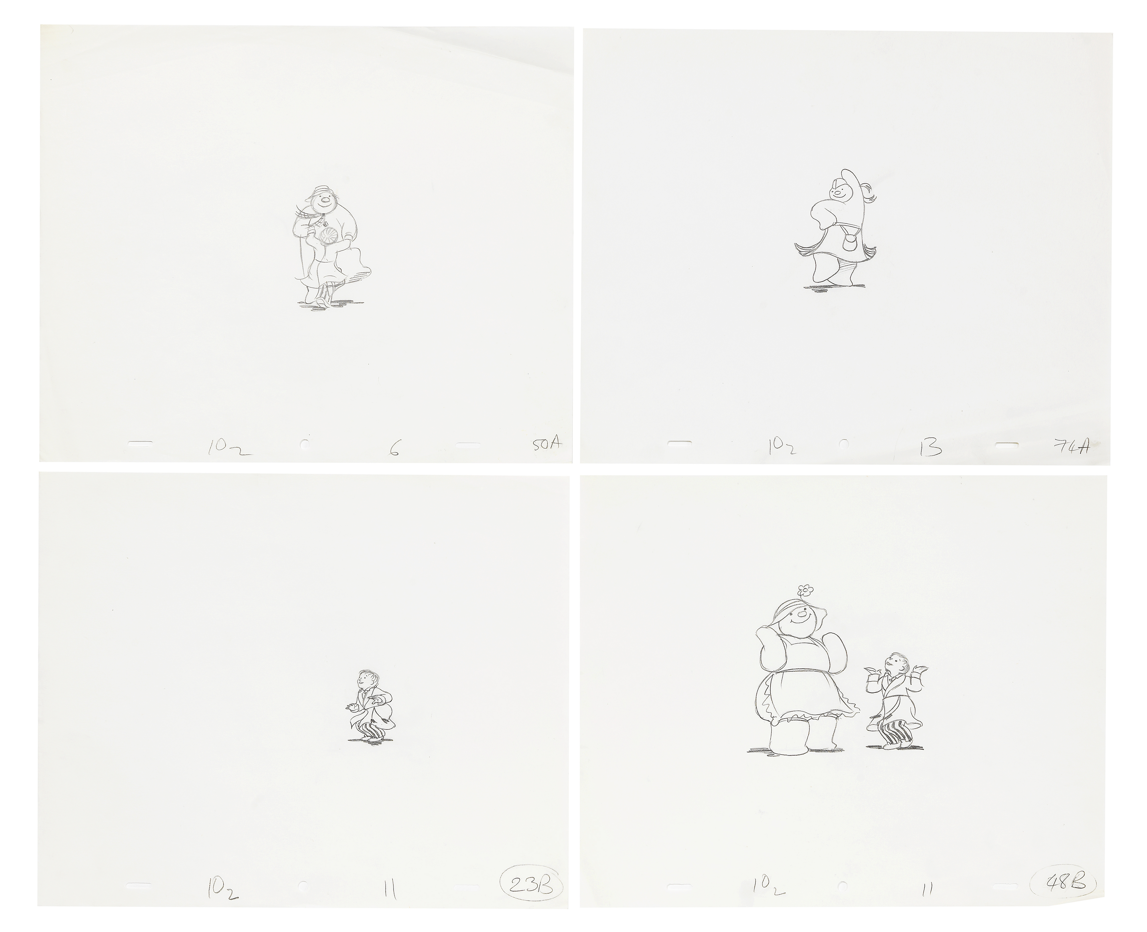 Lot 43 - The Snowman: Four original animation drawings, 1982, 4