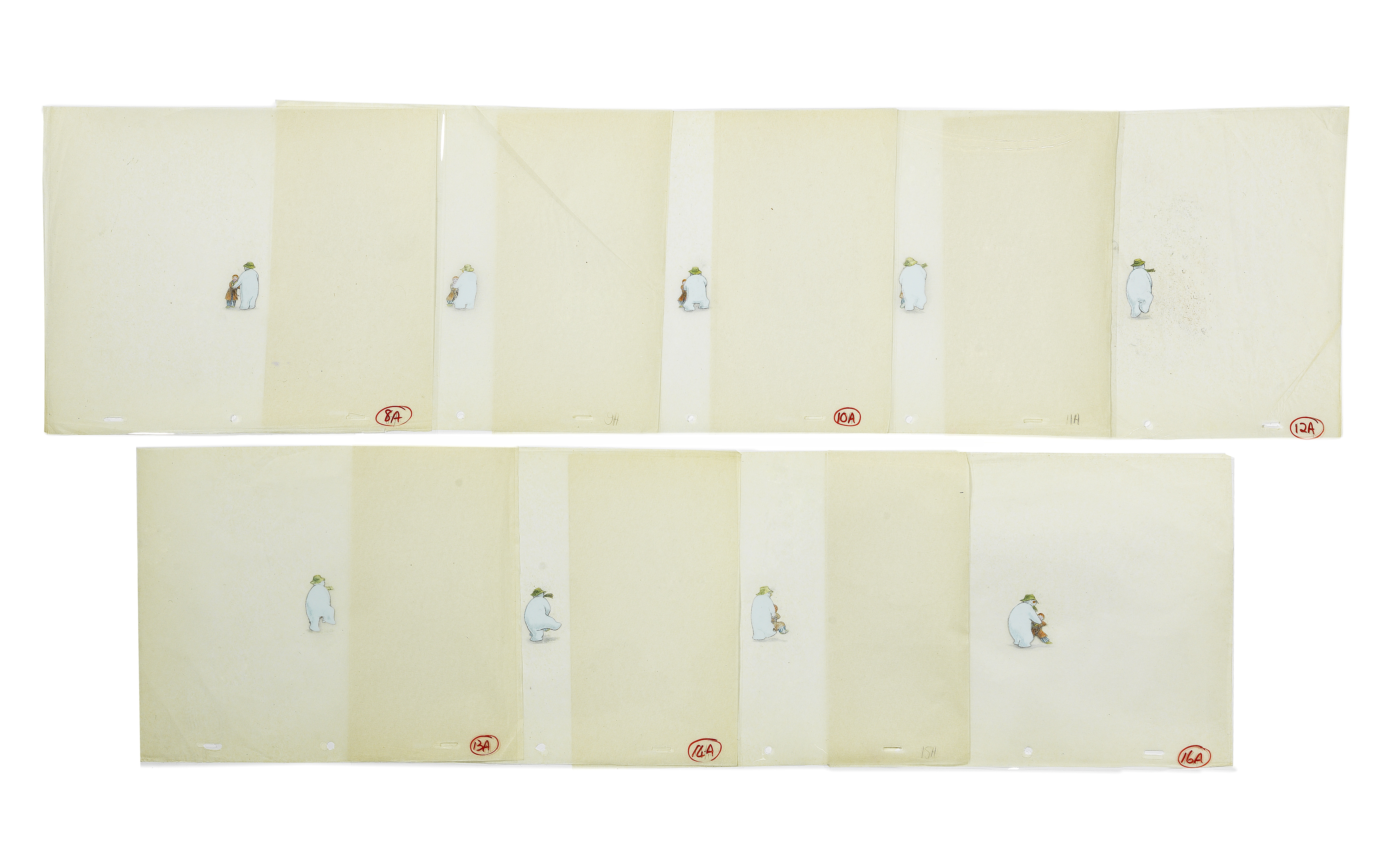 Lot 41 - The Snowman: Nine original animation cels of James and The Snowman dancing, 1982, 9