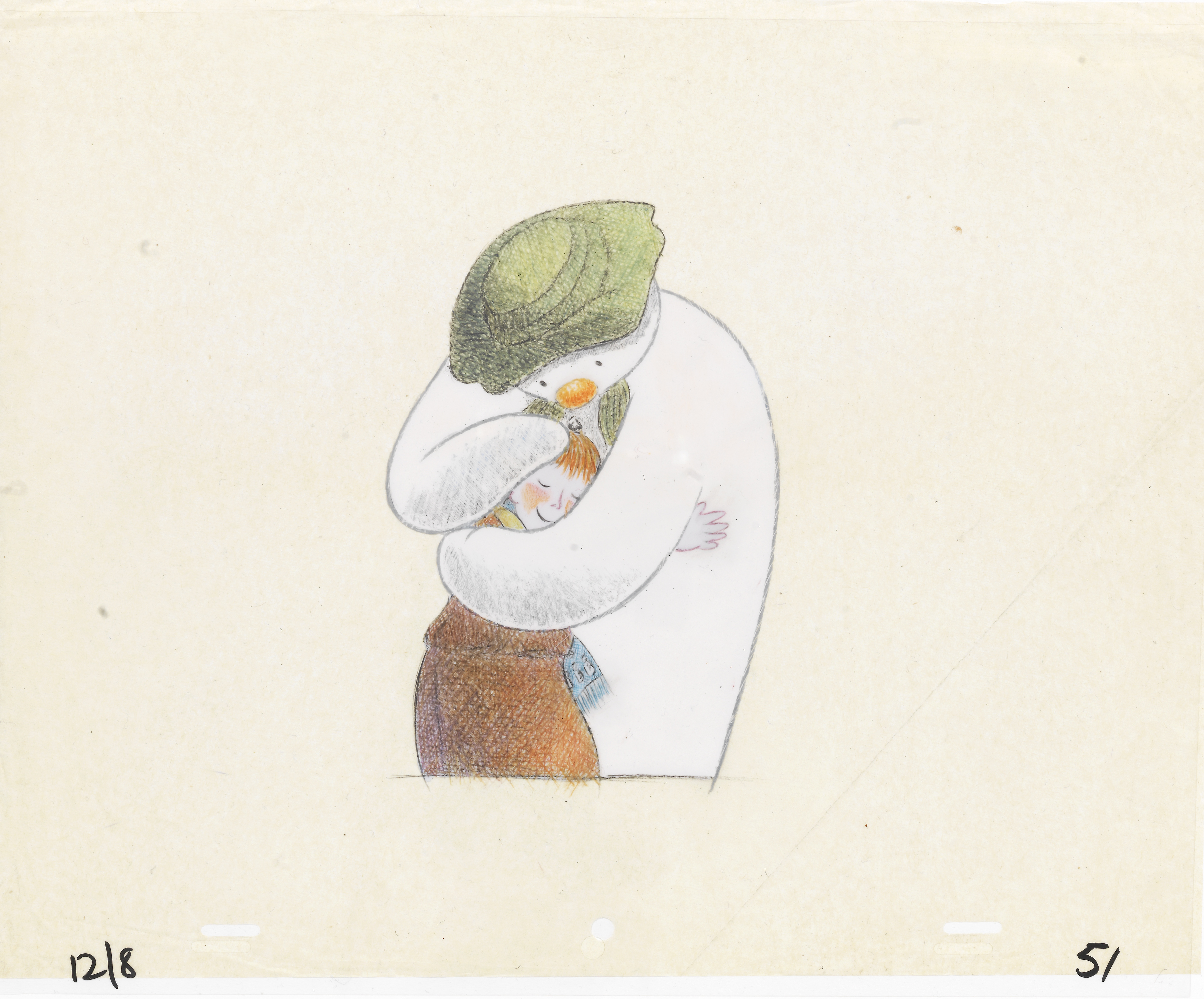 Lot 47 - The Snowman: An original animation cel of the Snowman and James, 1982,