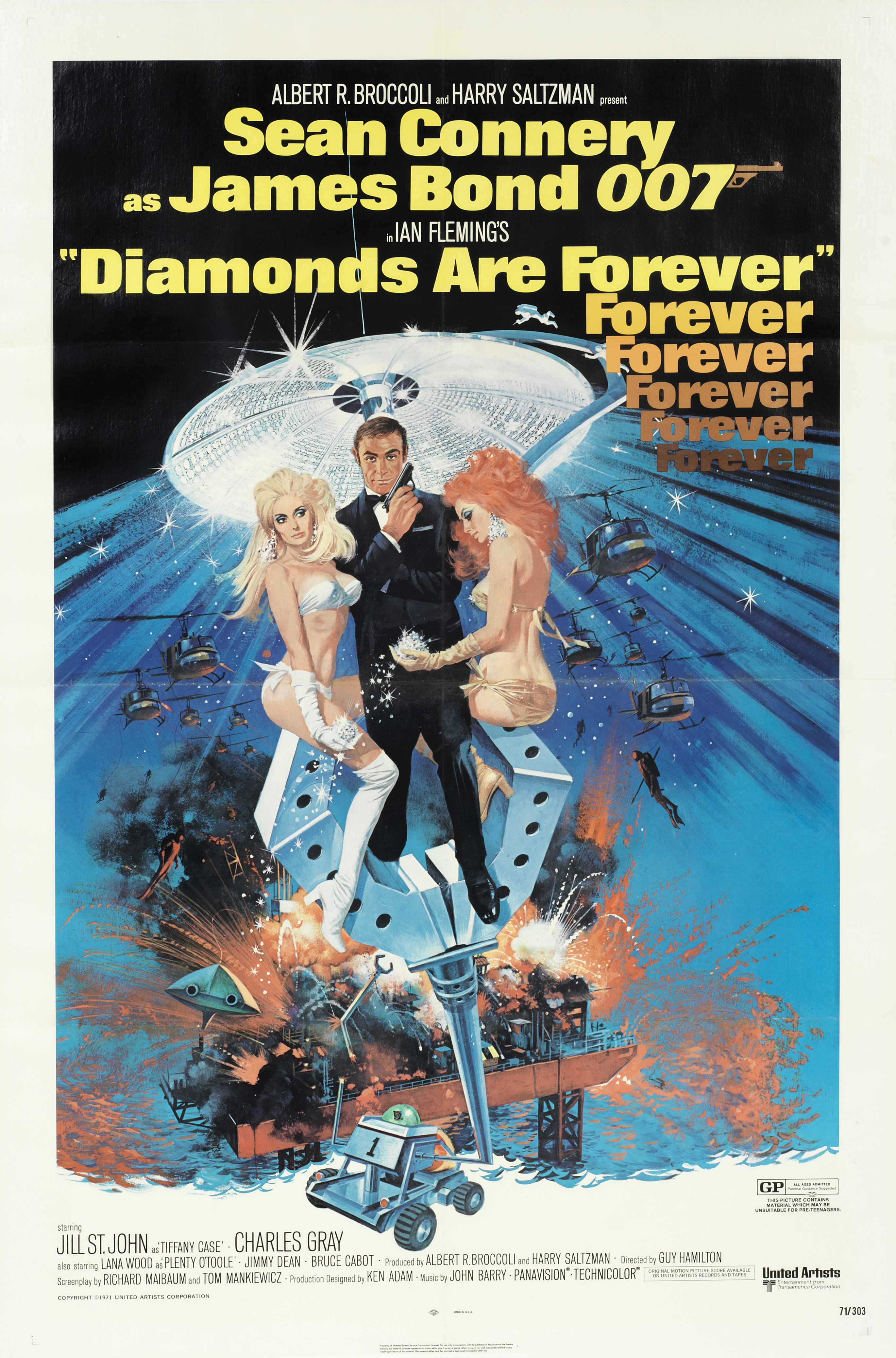 Lot 27 - James Bond: two posters for Goldfinger and Diamonds Are Forever, Eon Productions/ United Artists,...