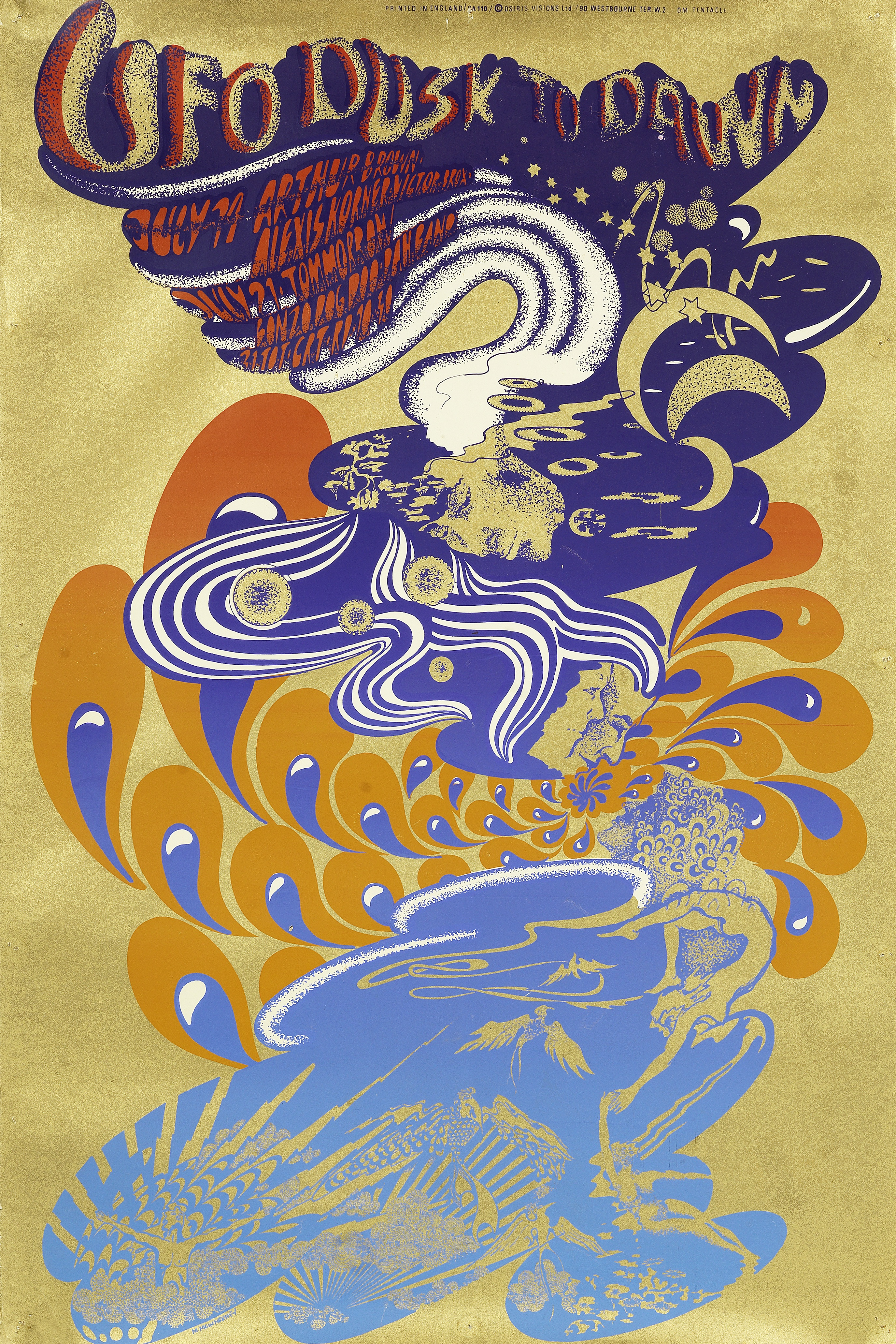 Lot 54 - Hapshash & The Coloured Coat: A psychedelic poster for Dusk to Dawn at the UFO Club, 19th-21st Ju...