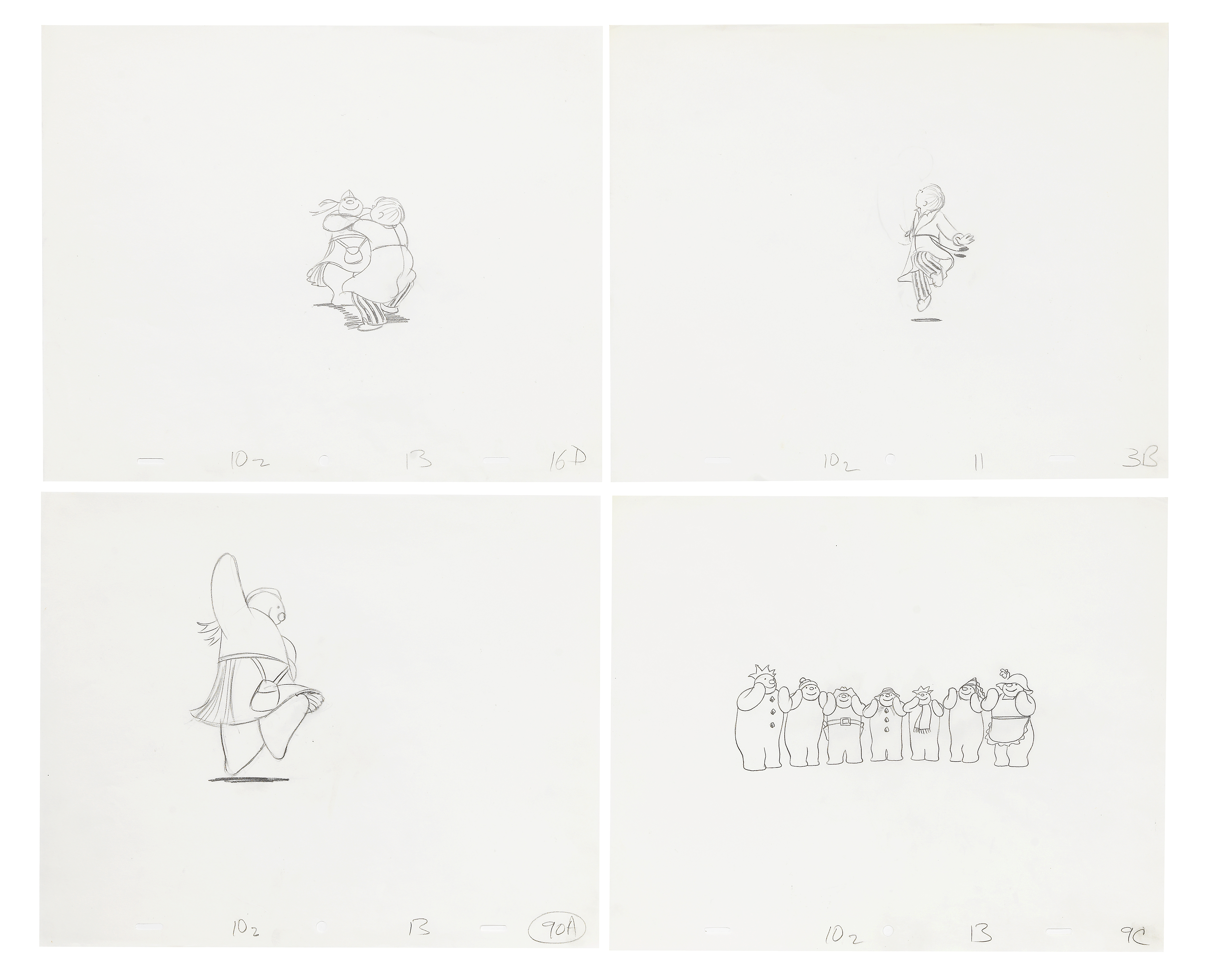 Lot 42 - The Snowman: Four original animation drawings of James and the party scene, 1982, 4