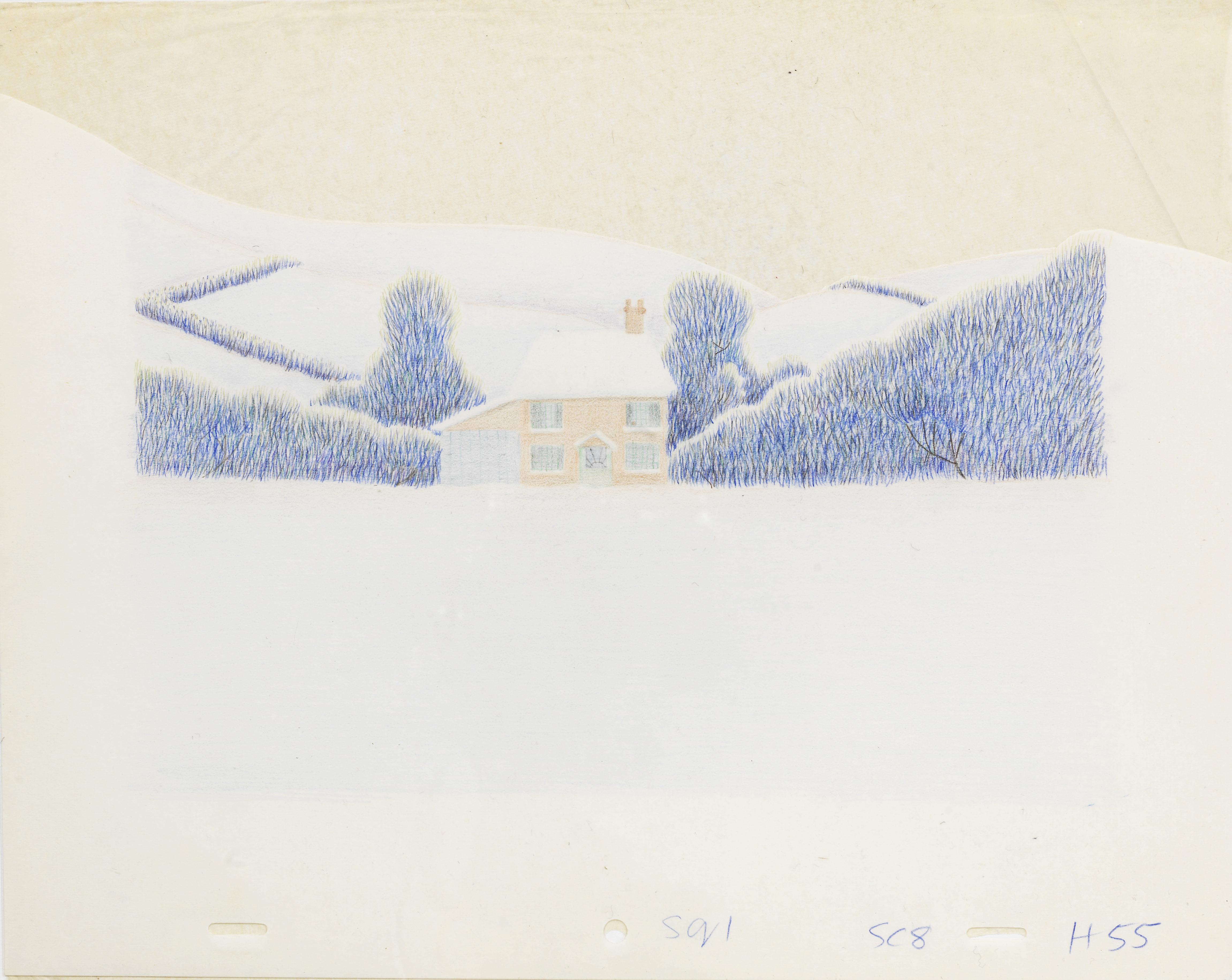 Lot 37 - The Snowman: an original animation backdrop cel of a winter scene, 1982,