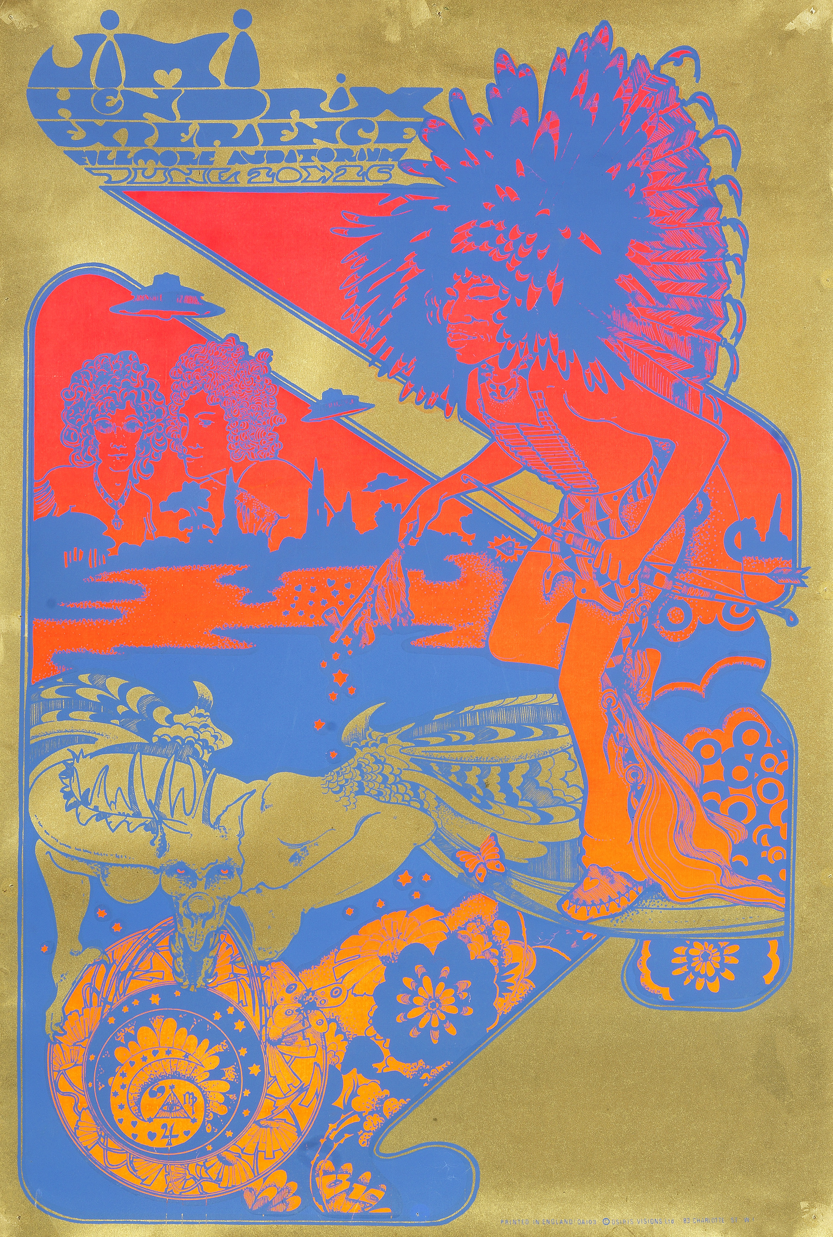 Lot 53 - Hapshash & The Coloured Coat: A psychedelic poster for the Jimi Hendrix Experience at the Fillmor...