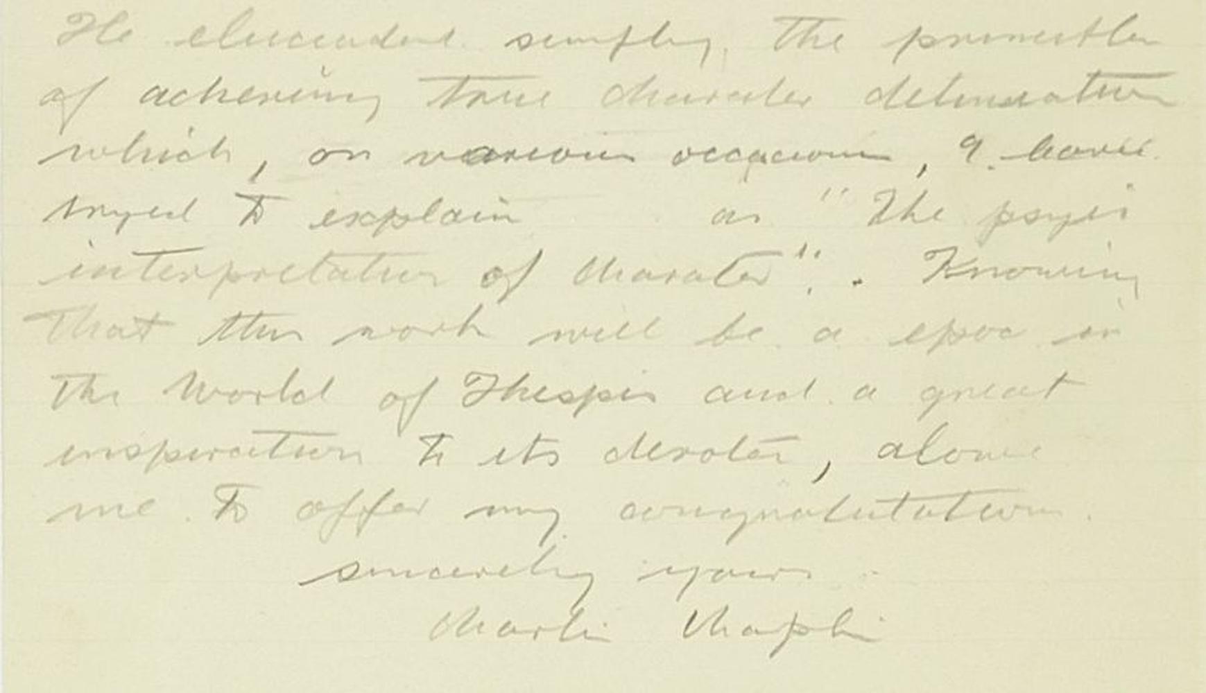 Lot 1 - Charlie Chaplin: An original handwritten letter and original typed letter to Elizabeth Reynolds H...