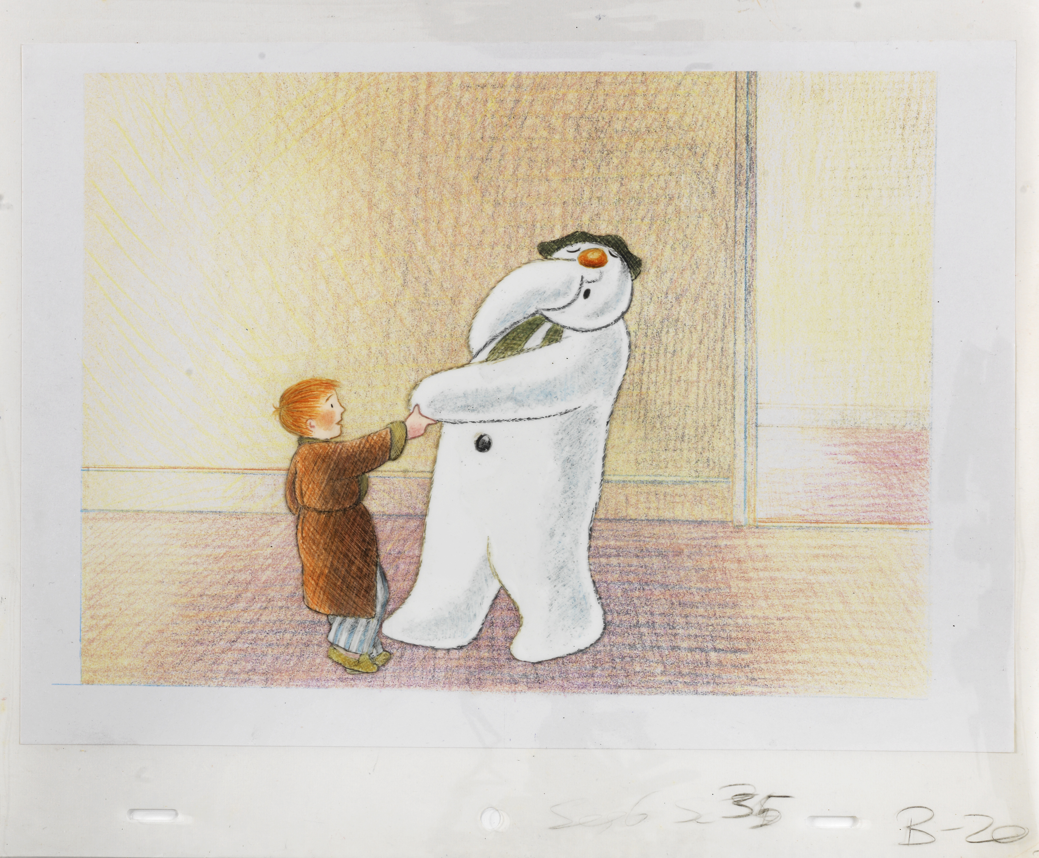 Lot 38 - The Snowman: an original animation cel of the Snowman and James in the house, 1982,