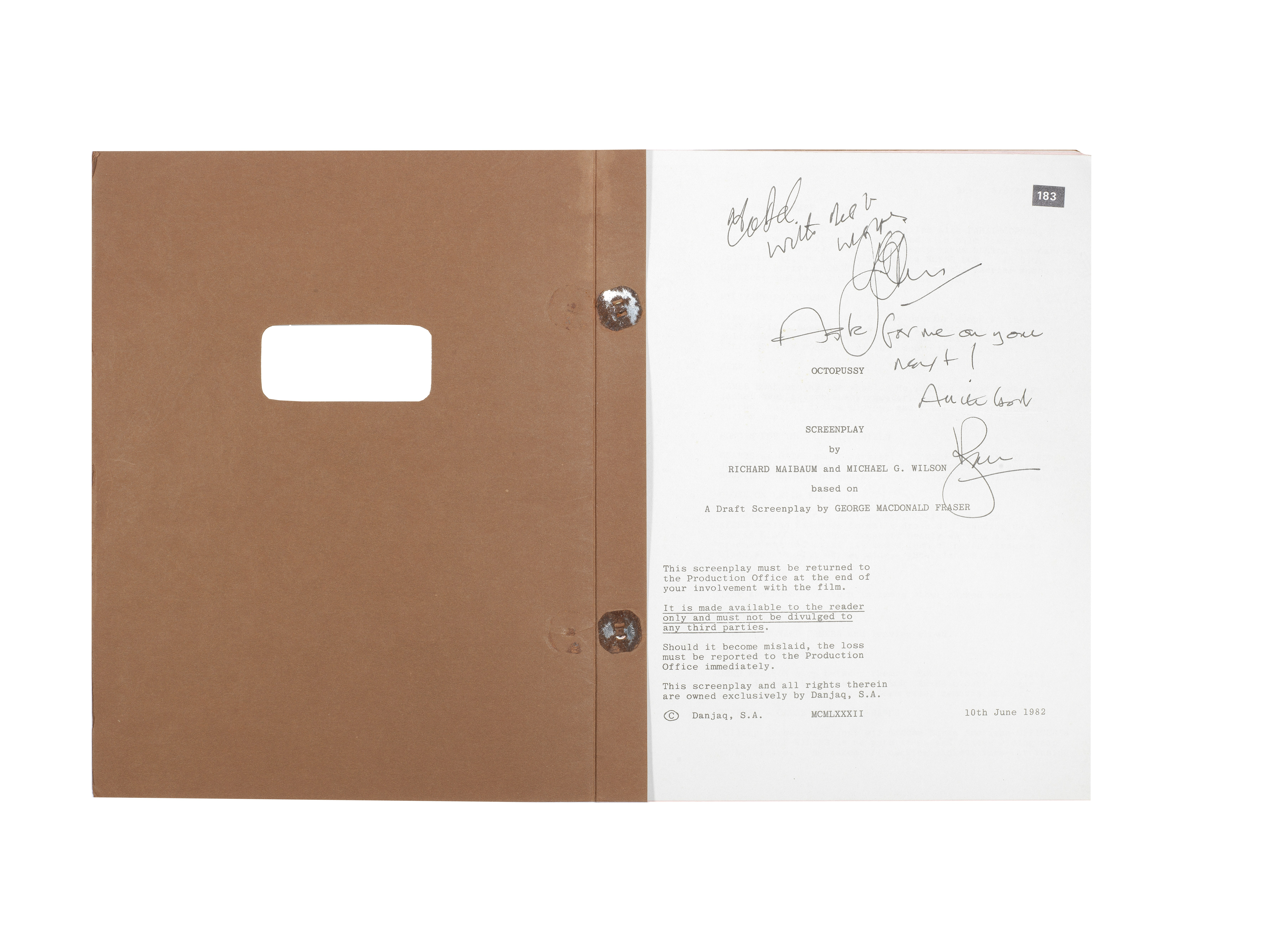 Lot 28 - James Bond: a screenplay script for Octopussy signed by Roger Moore, Eon Productions, 1983, 3